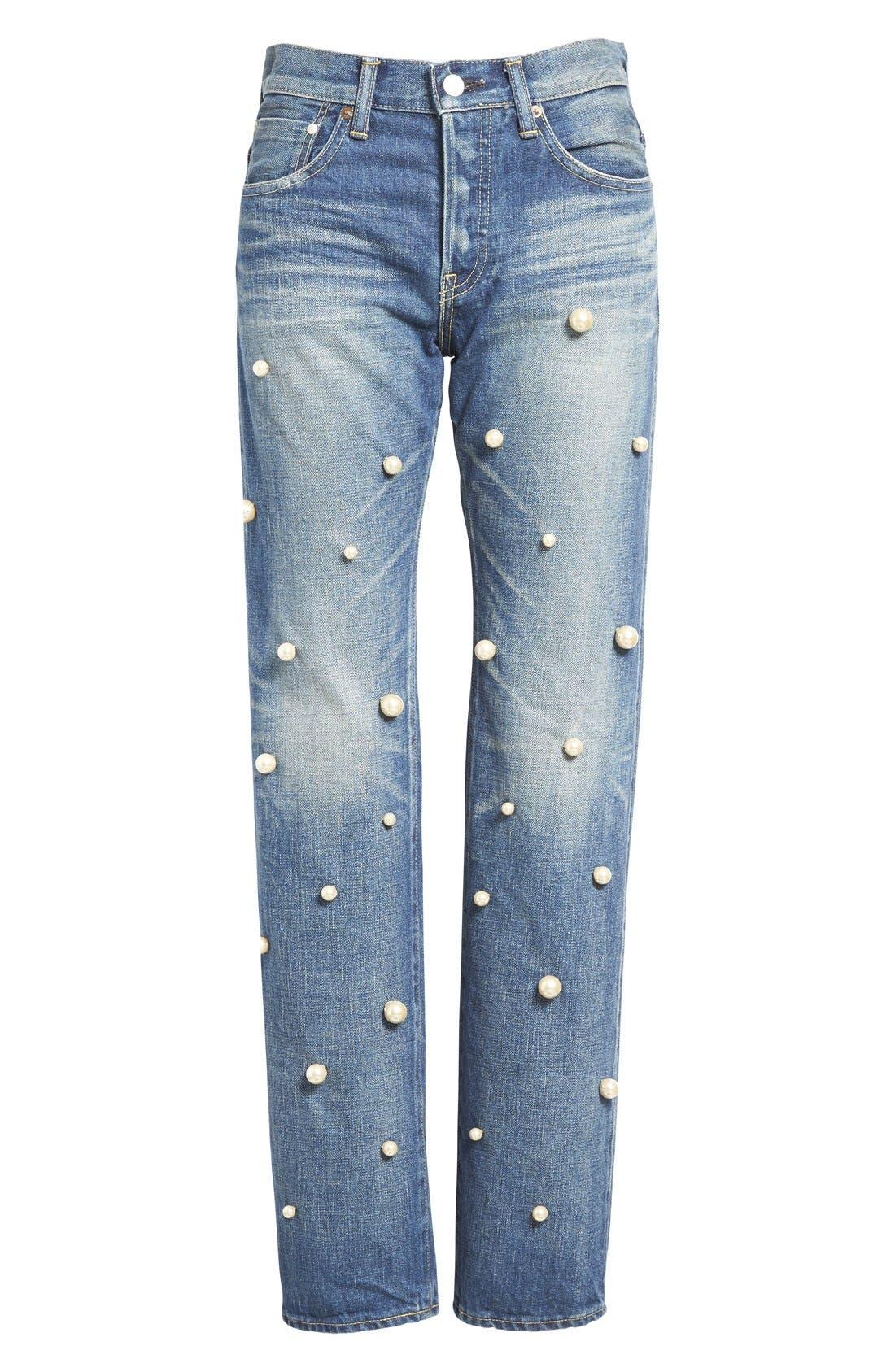 Imitation Pearl Embellished Jeans,                             Alternate thumbnail 4, color,                             101