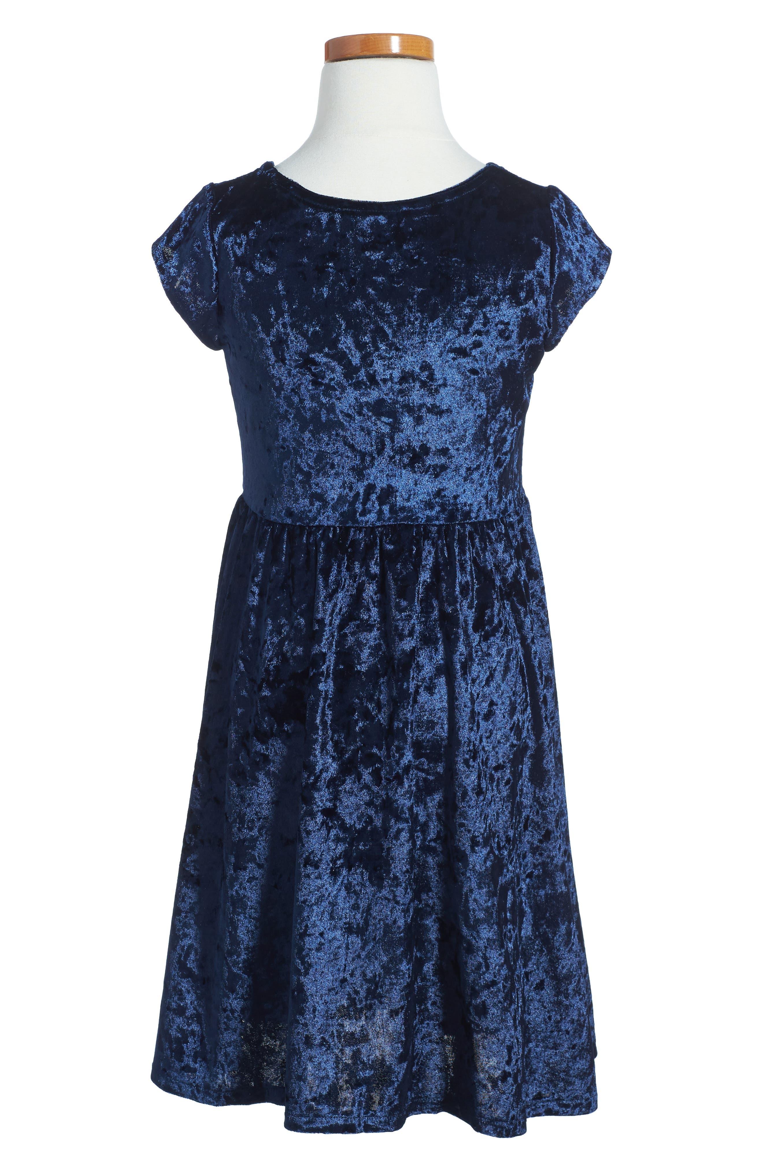 Velvet Skater Dress,                             Alternate thumbnail 2, color,                             410