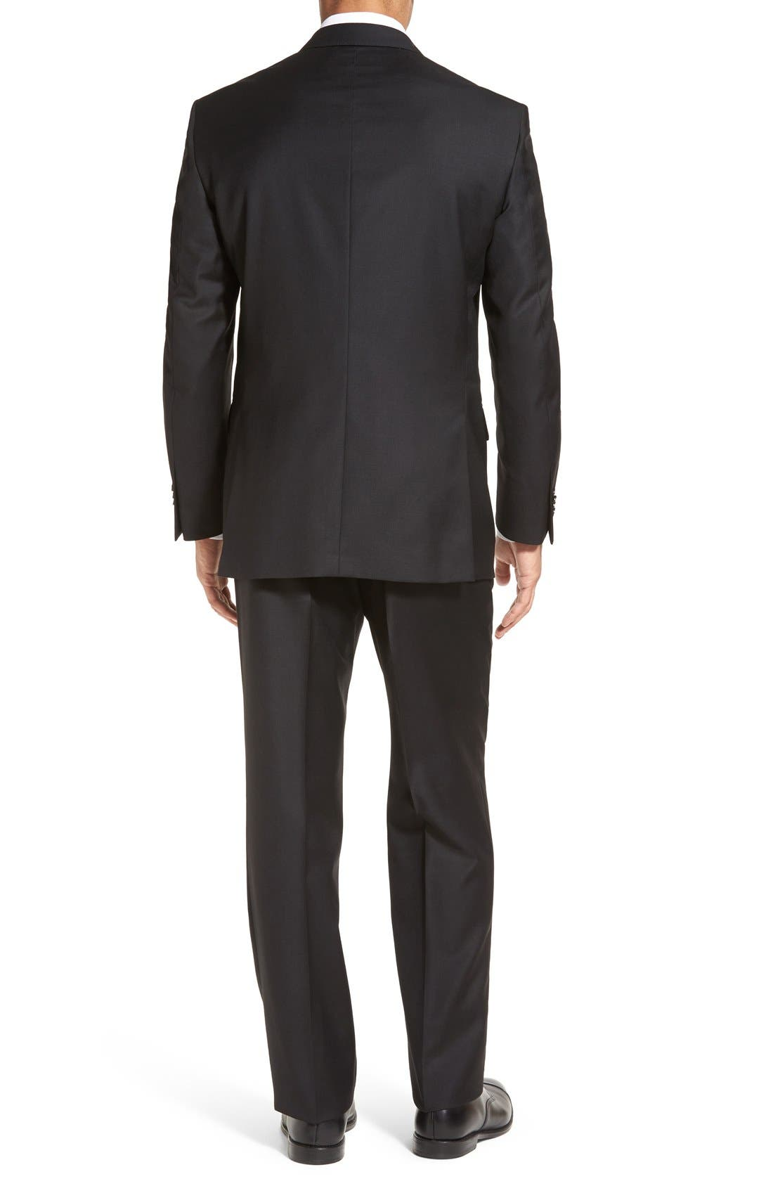 PETER MILLAR,                             Flynn Classic Fit Solid Wool Suit,                             Alternate thumbnail 2, color,                             BLACK