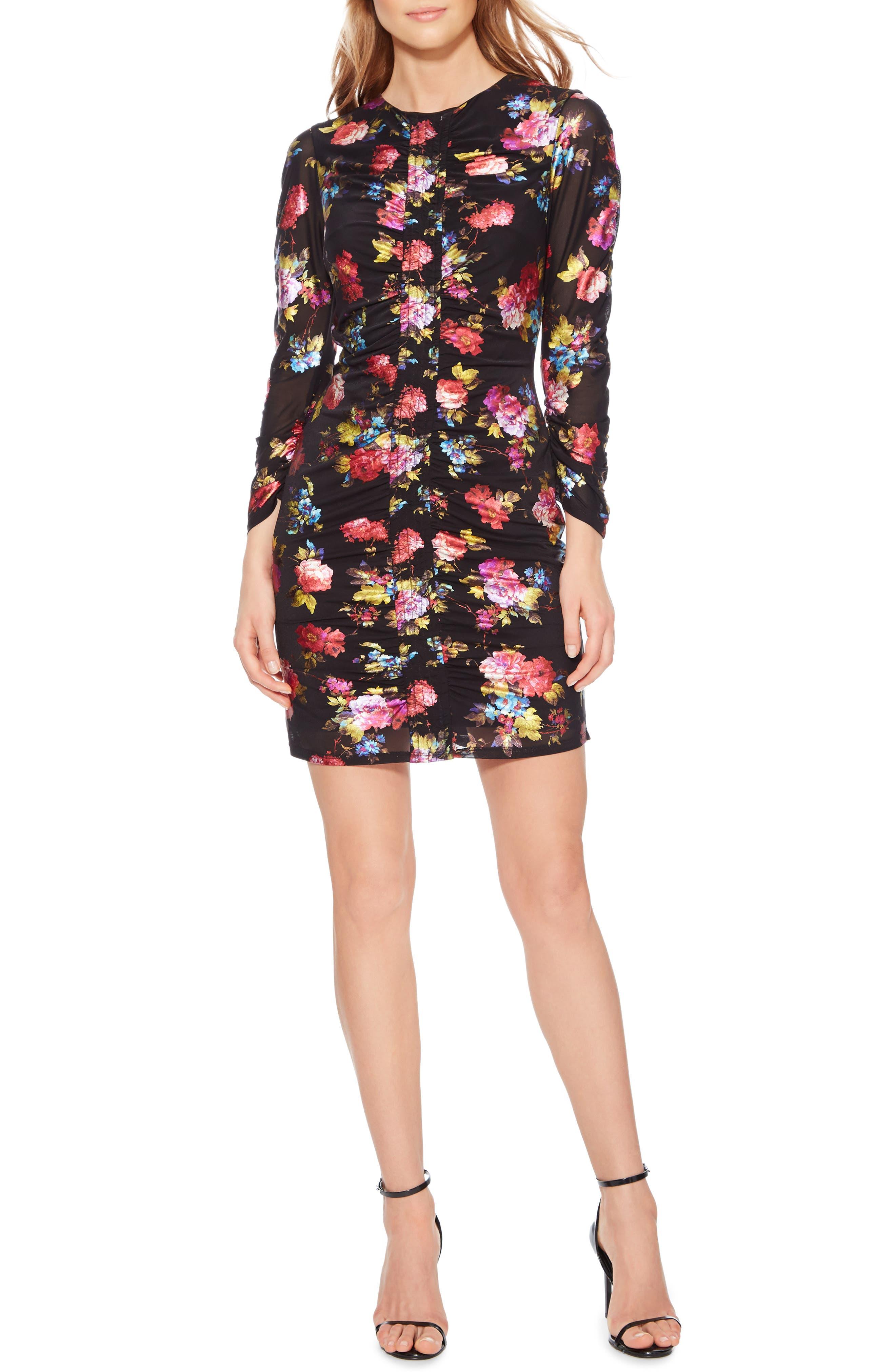 Adrienne Body-Con Dress,                             Main thumbnail 1, color,                             BLACK MULTI