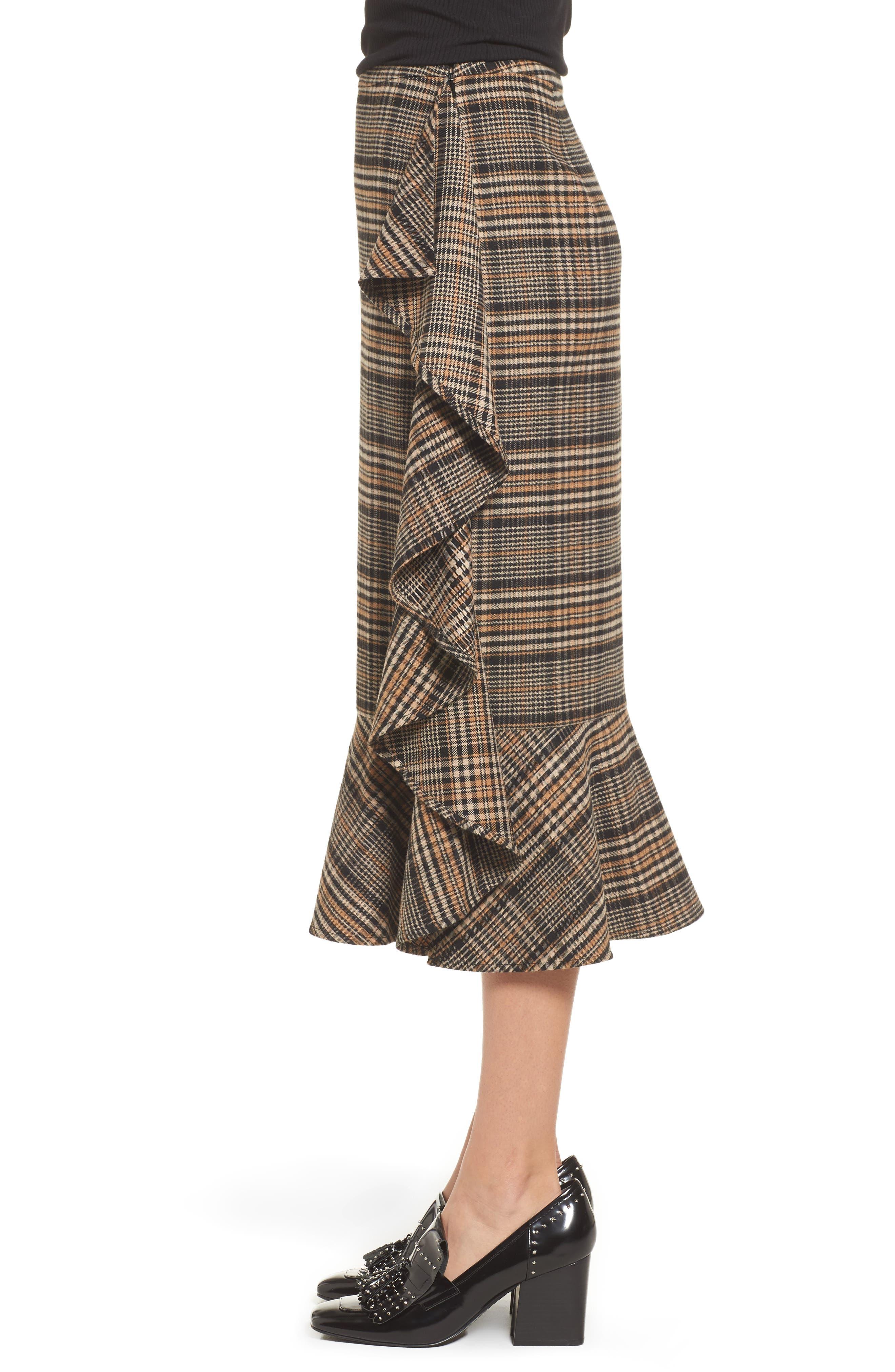 Ruffle Plaid Midi Skirt,                             Alternate thumbnail 3, color,