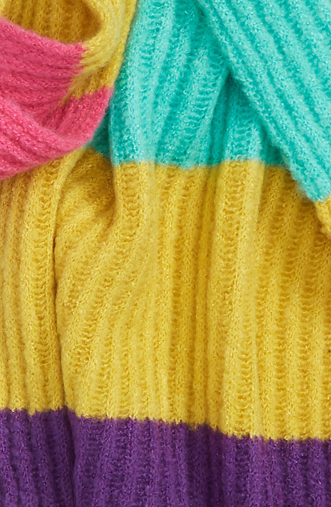 Stripe Ribbed Scarf,                             Alternate thumbnail 4, color,                             001
