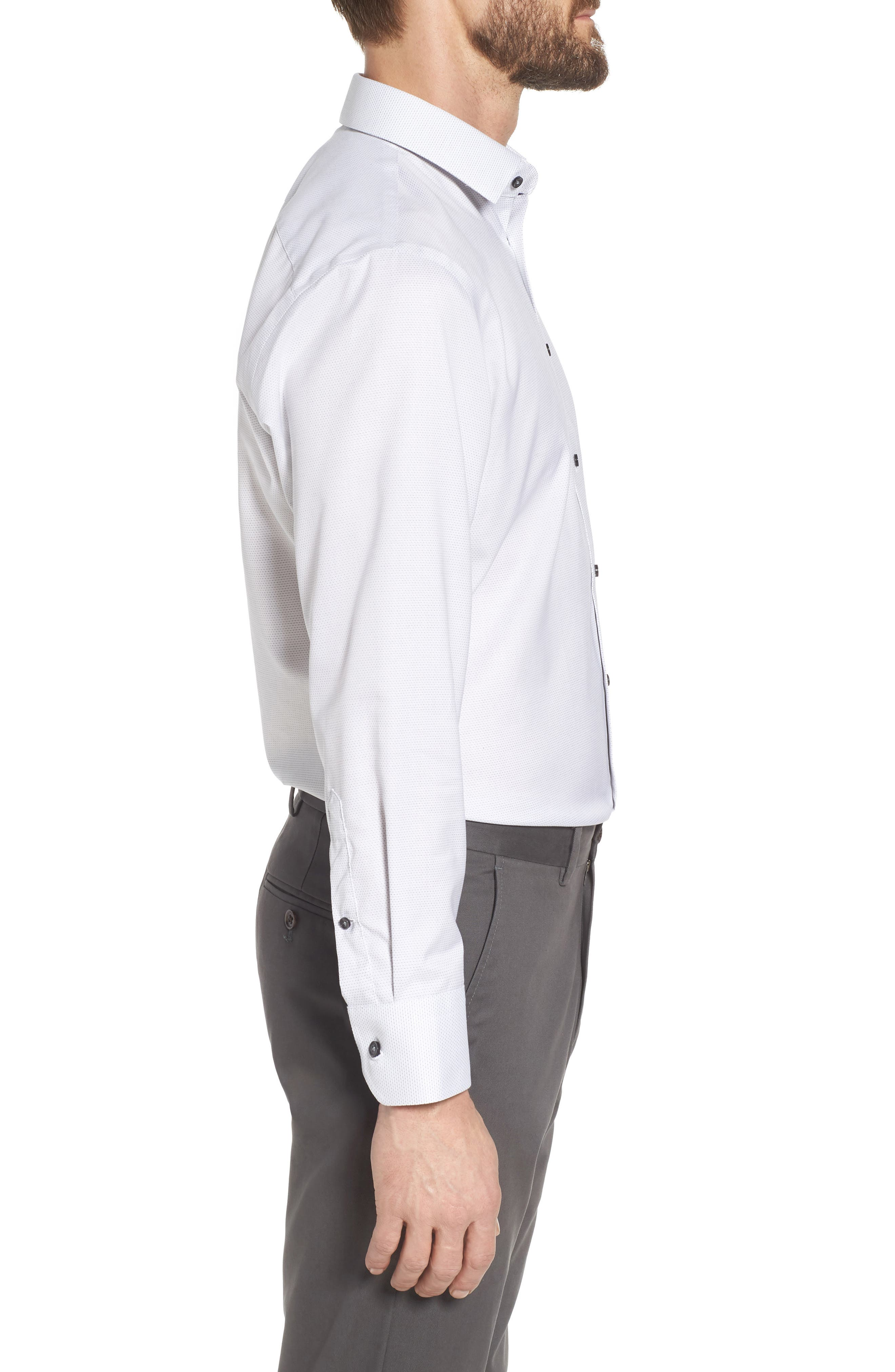 Trim Fit Dot Dress Shirt,                             Alternate thumbnail 4, color,                             100