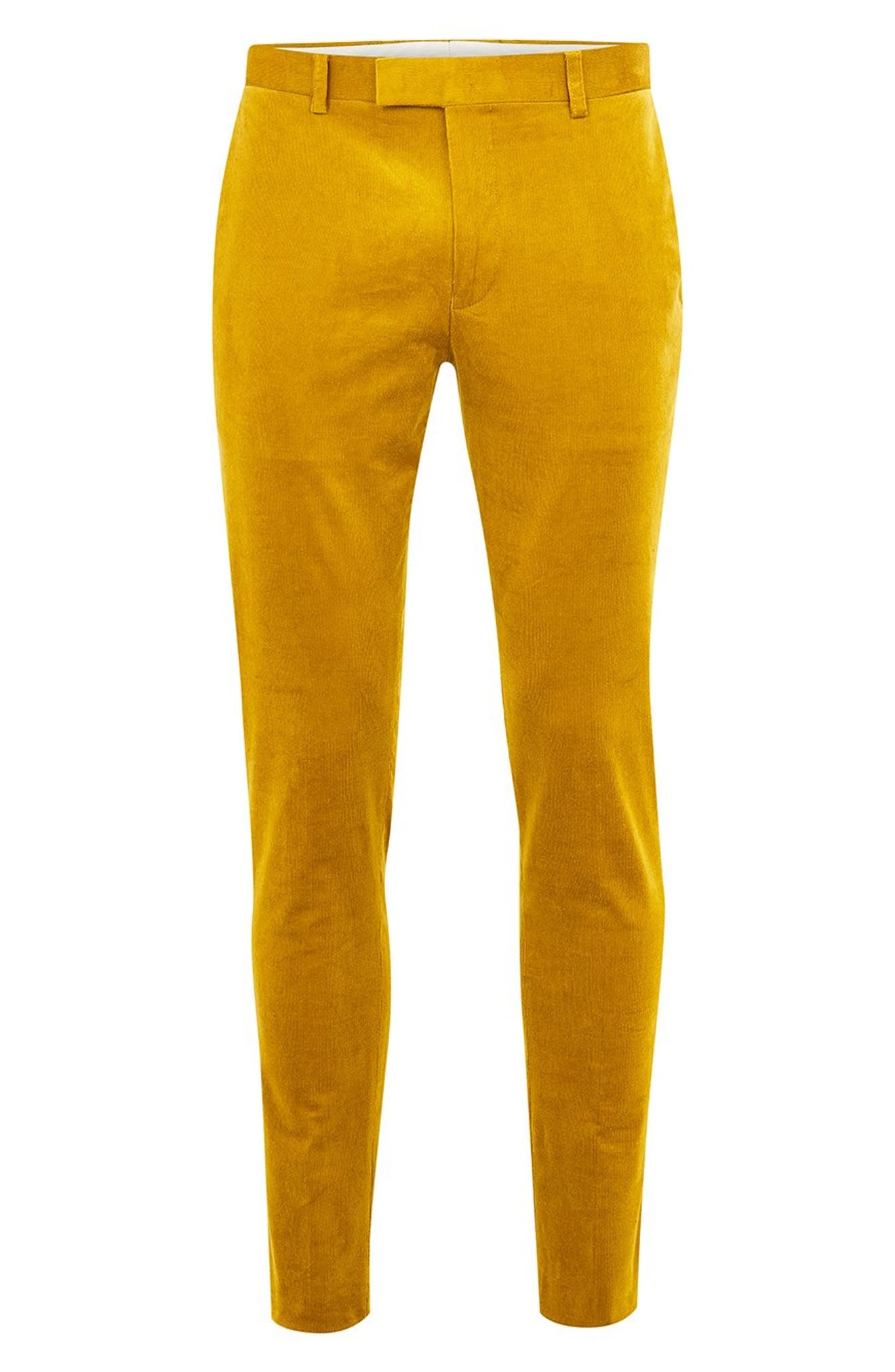 Super Skinny Fit Corduroy Trousers,                             Alternate thumbnail 4, color,                             YELLOW