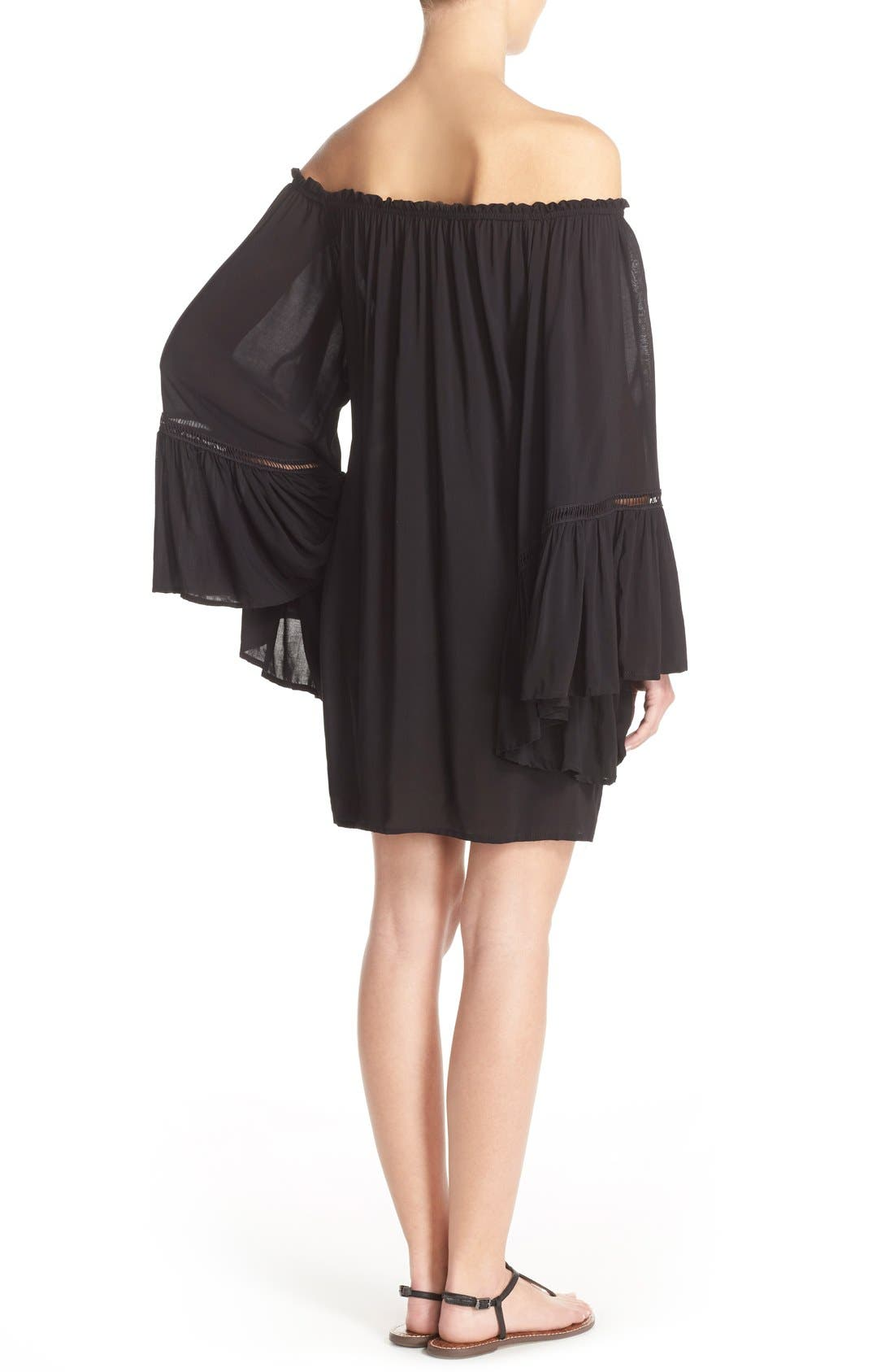 Off the Shoulder Bell Sleeve Cover-Up Tunic,                             Alternate thumbnail 4, color,                             001