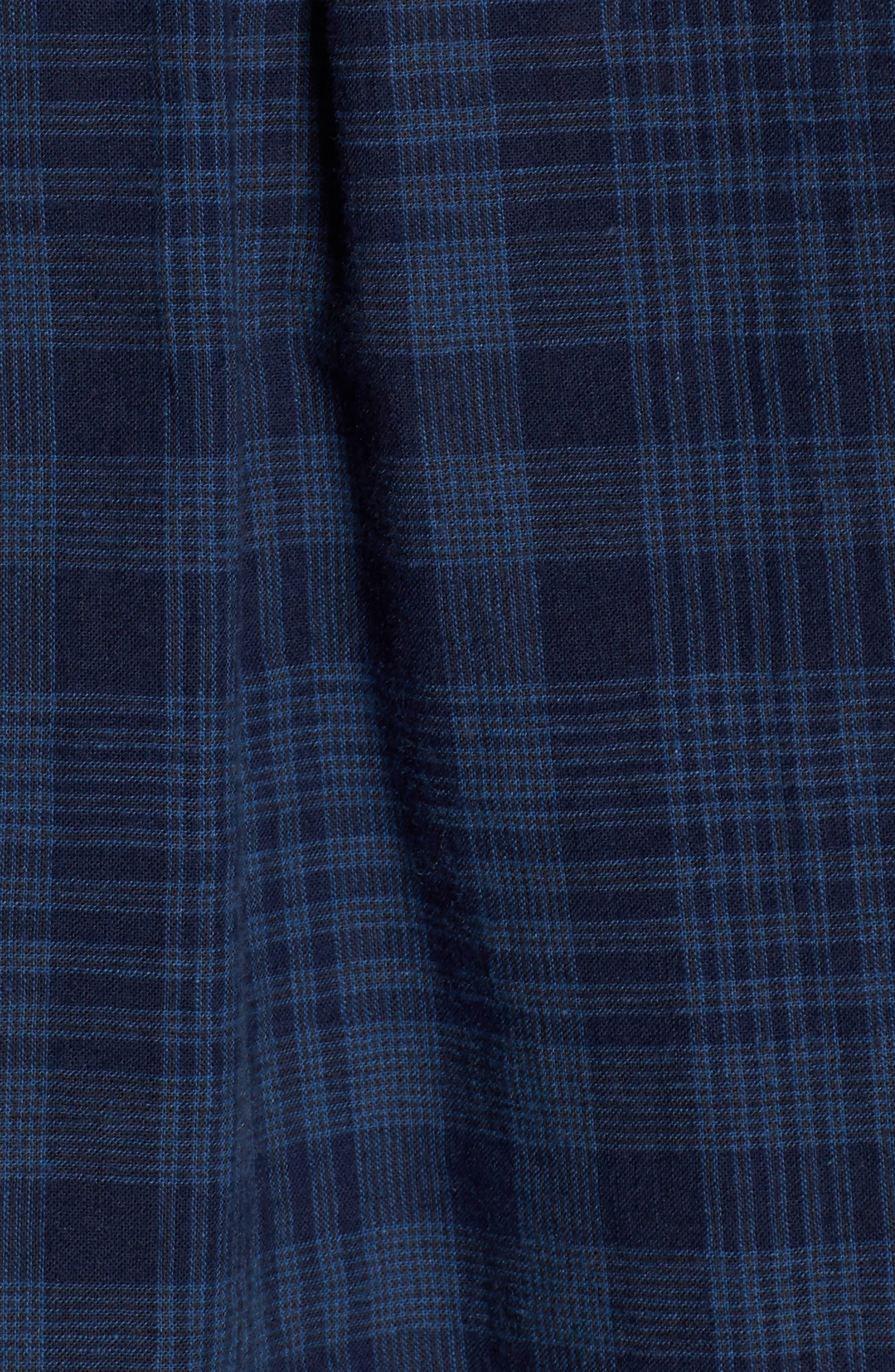 Connor Plaid Linen Blend Sport Shirt,                             Alternate thumbnail 5, color,                             497