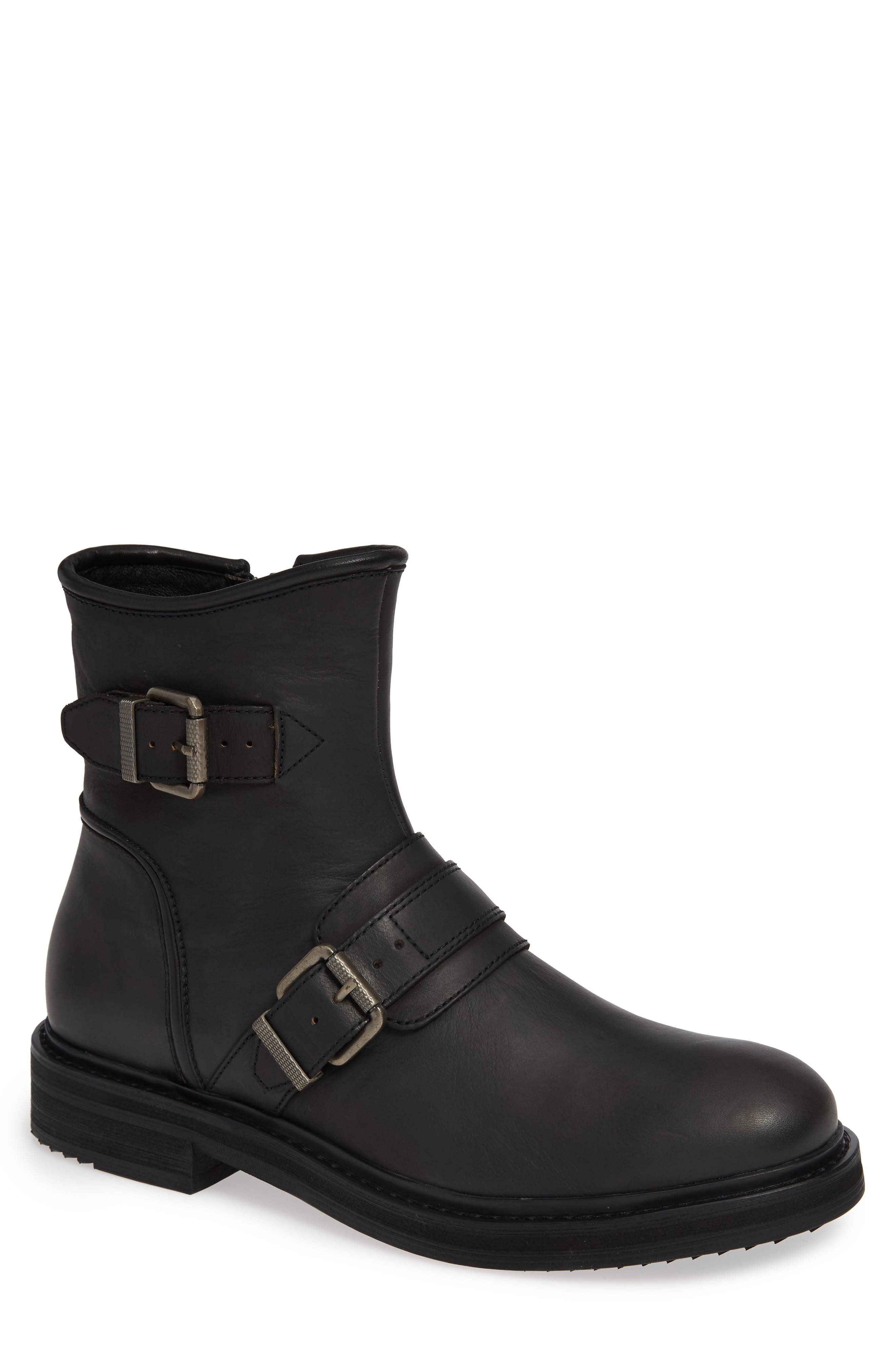 Cooper Moto Buckle Boot,                         Main,                         color, MINERAL BLACK LEATHER