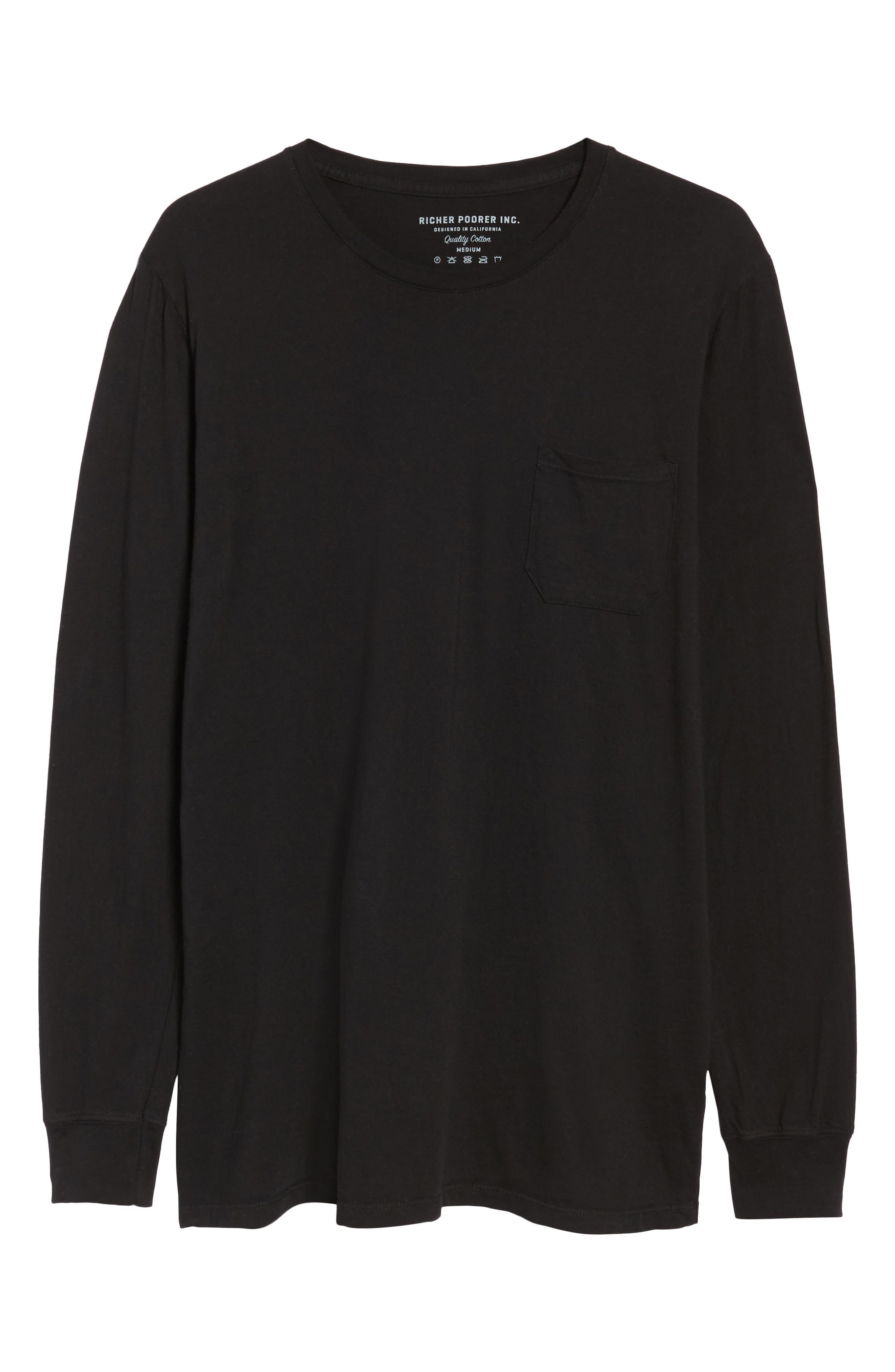 Lounge Long Sleeve Pocket T-Shirt,                             Alternate thumbnail 6, color,                             BLACK