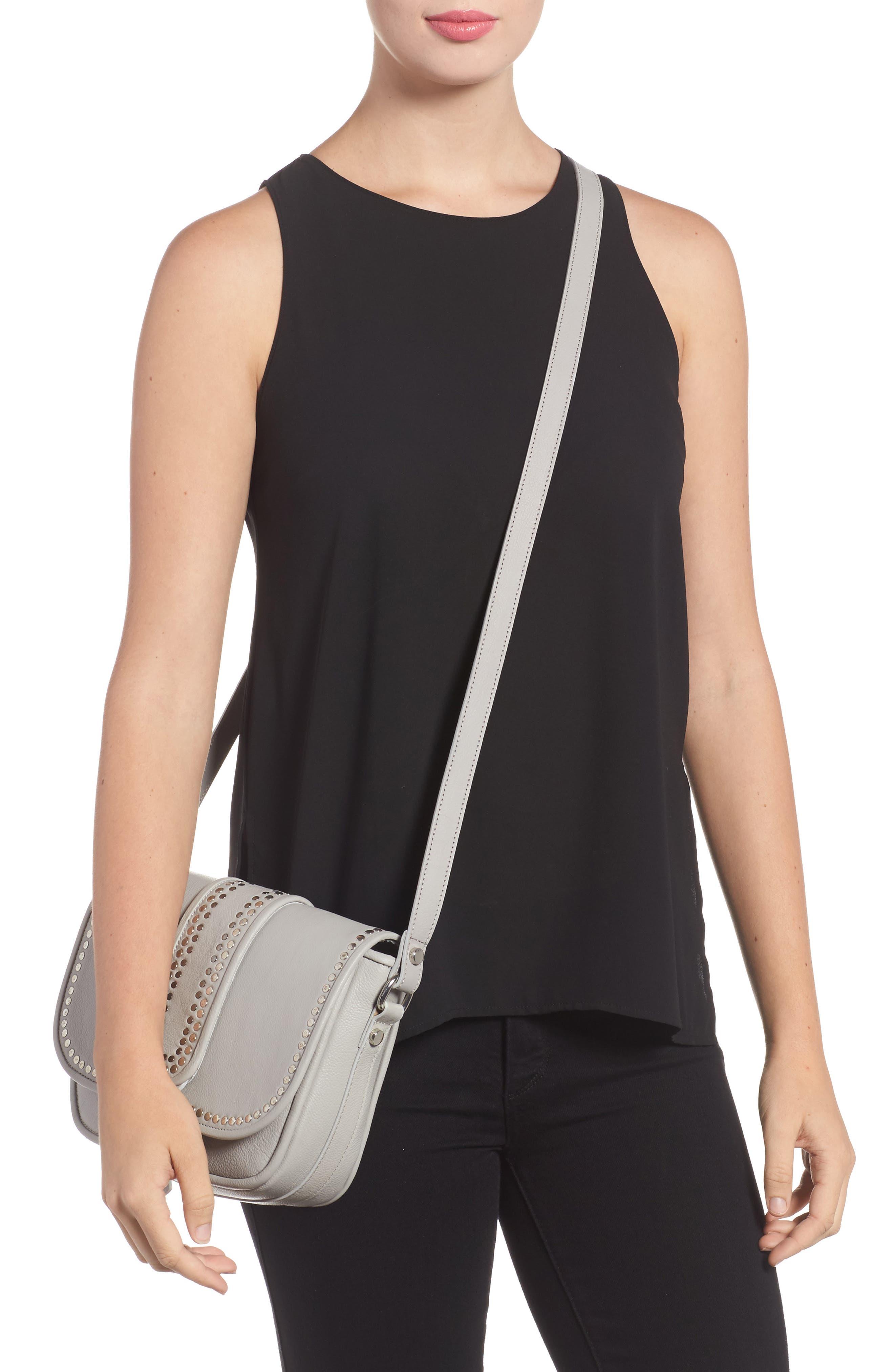 Premium Leather Studded Shoulder Bag,                             Alternate thumbnail 5, color,