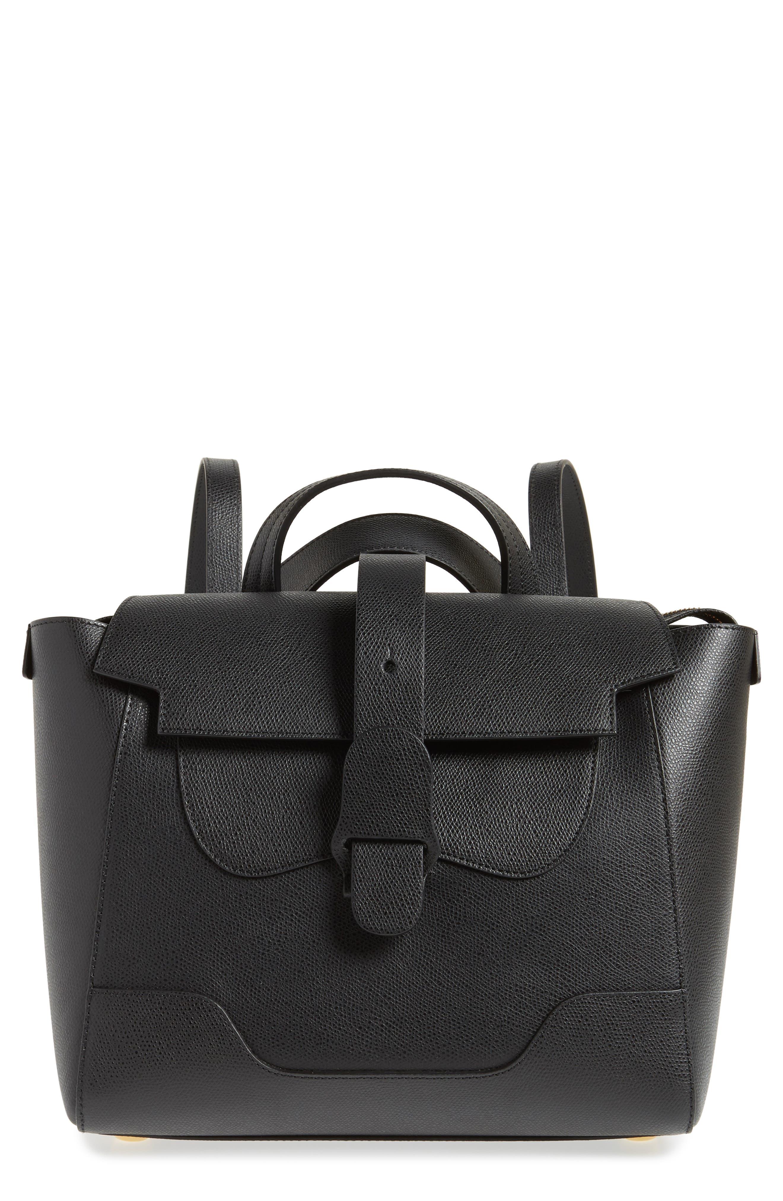 Medium Maestra Pebbled Leather Convertible Satchel, Main, color, NOIR