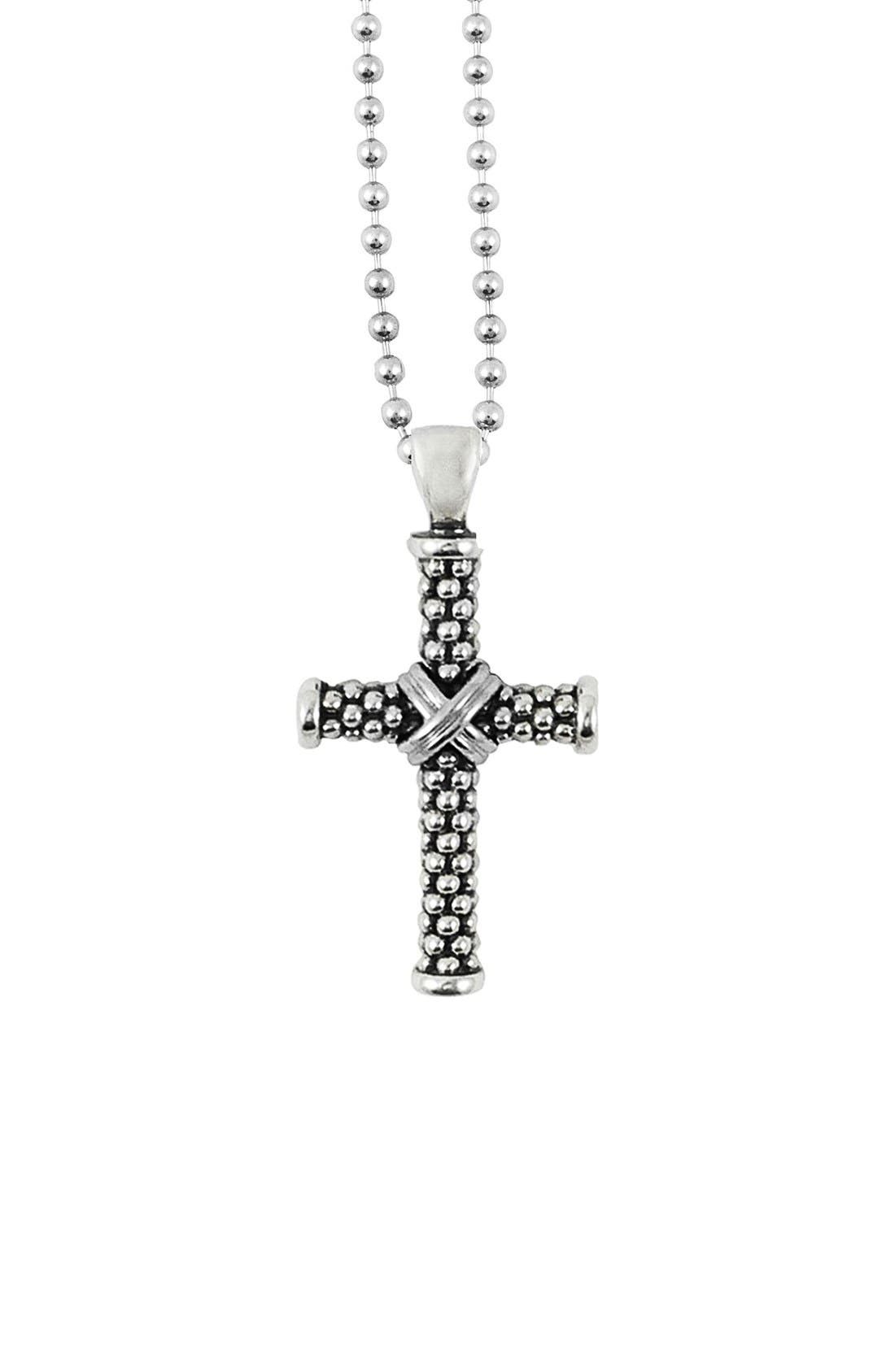 Caviar Long Pendant Necklace,                         Main,                         color, CROSS