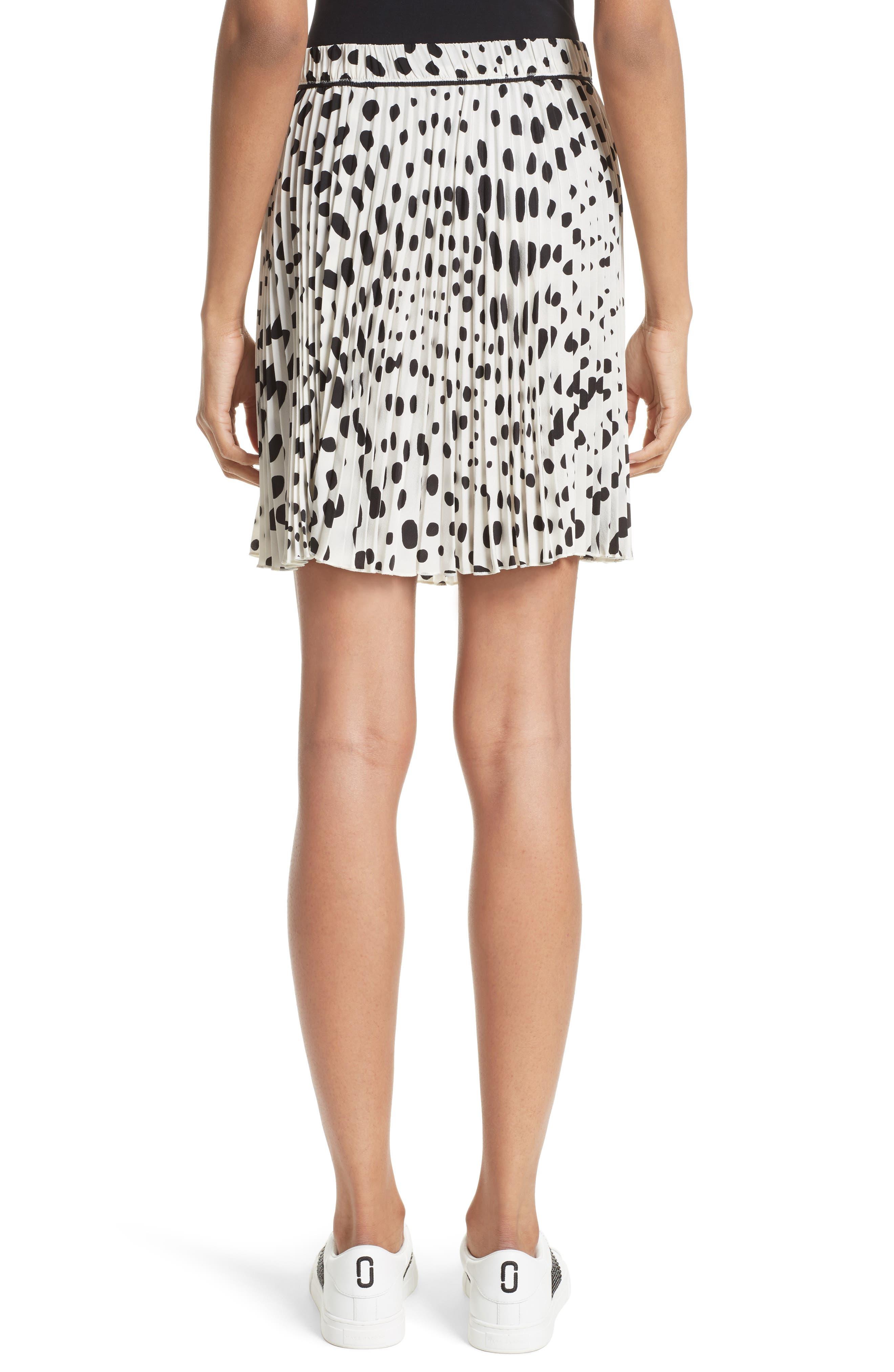 Pleated Polka Dot Silk Skirt,                             Alternate thumbnail 2, color,                             160