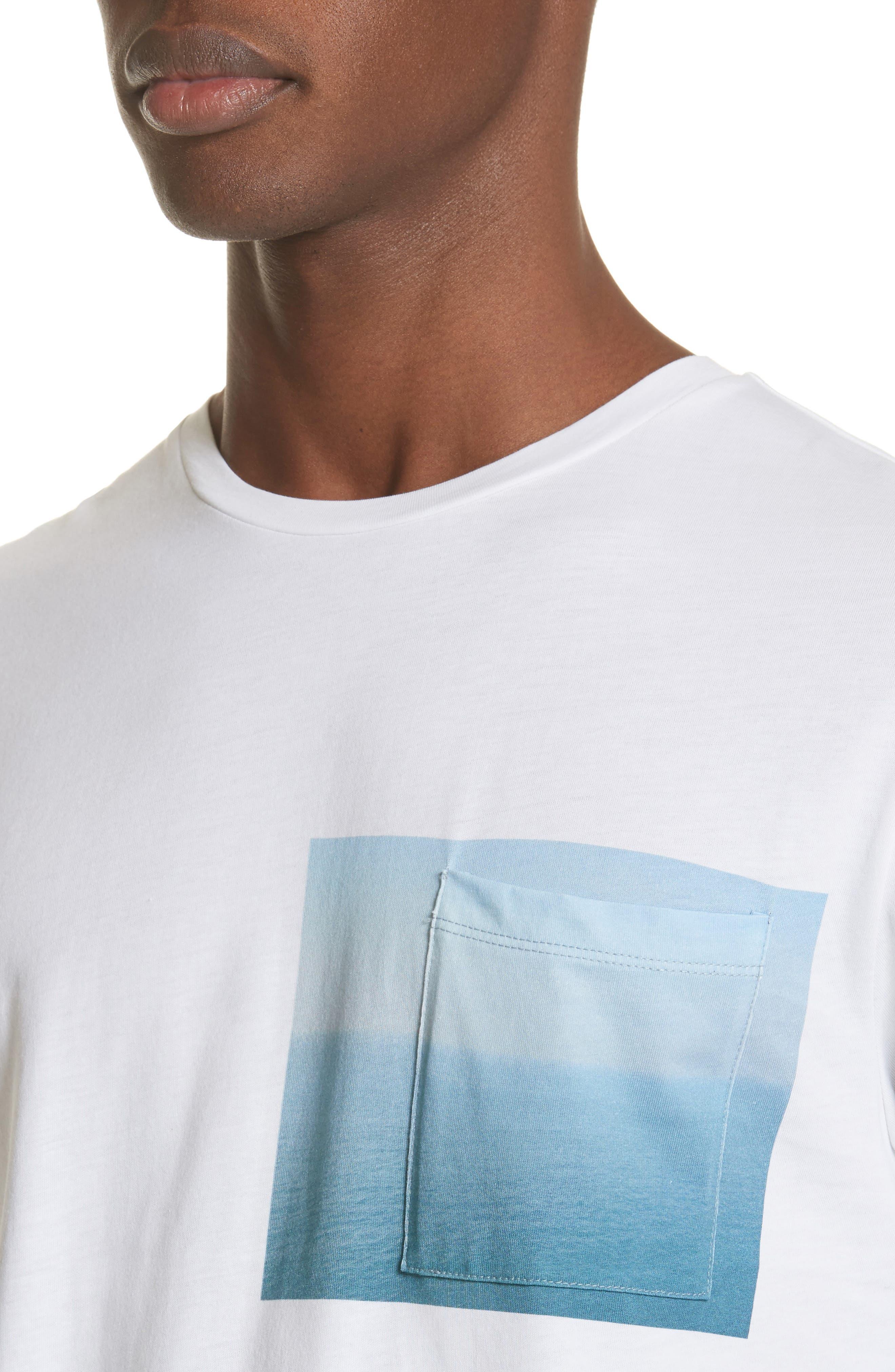 Seaview Print Pocket T-Shirt,                             Alternate thumbnail 4, color,                             WHITE