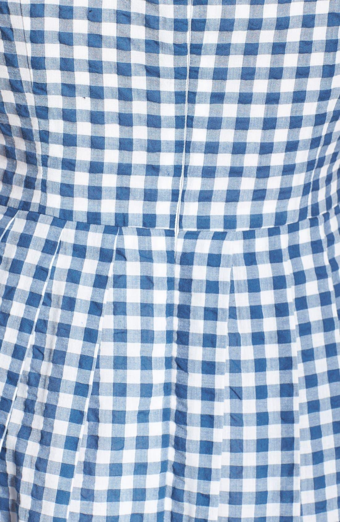 Gingham Cotton Fit & Flare Midi Dress,                             Alternate thumbnail 2, color,                             400