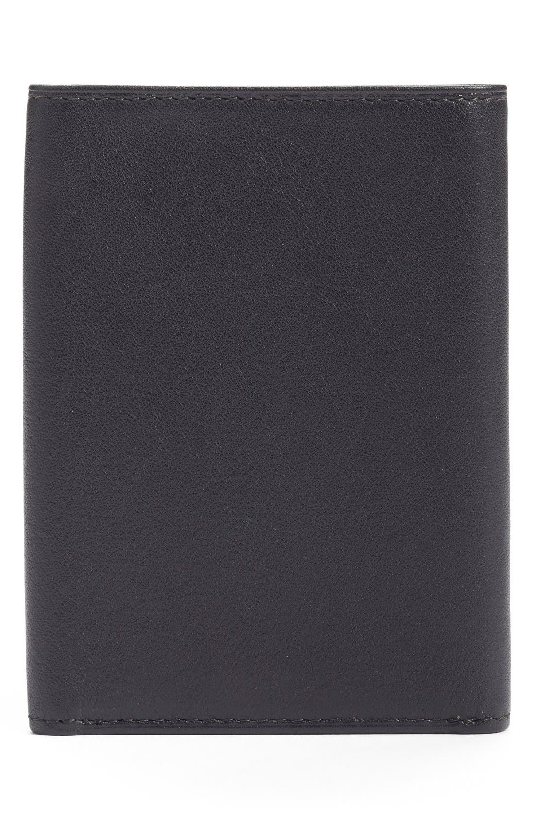 Leather Trifold Wallet,                             Alternate thumbnail 2, color,                             BLACK