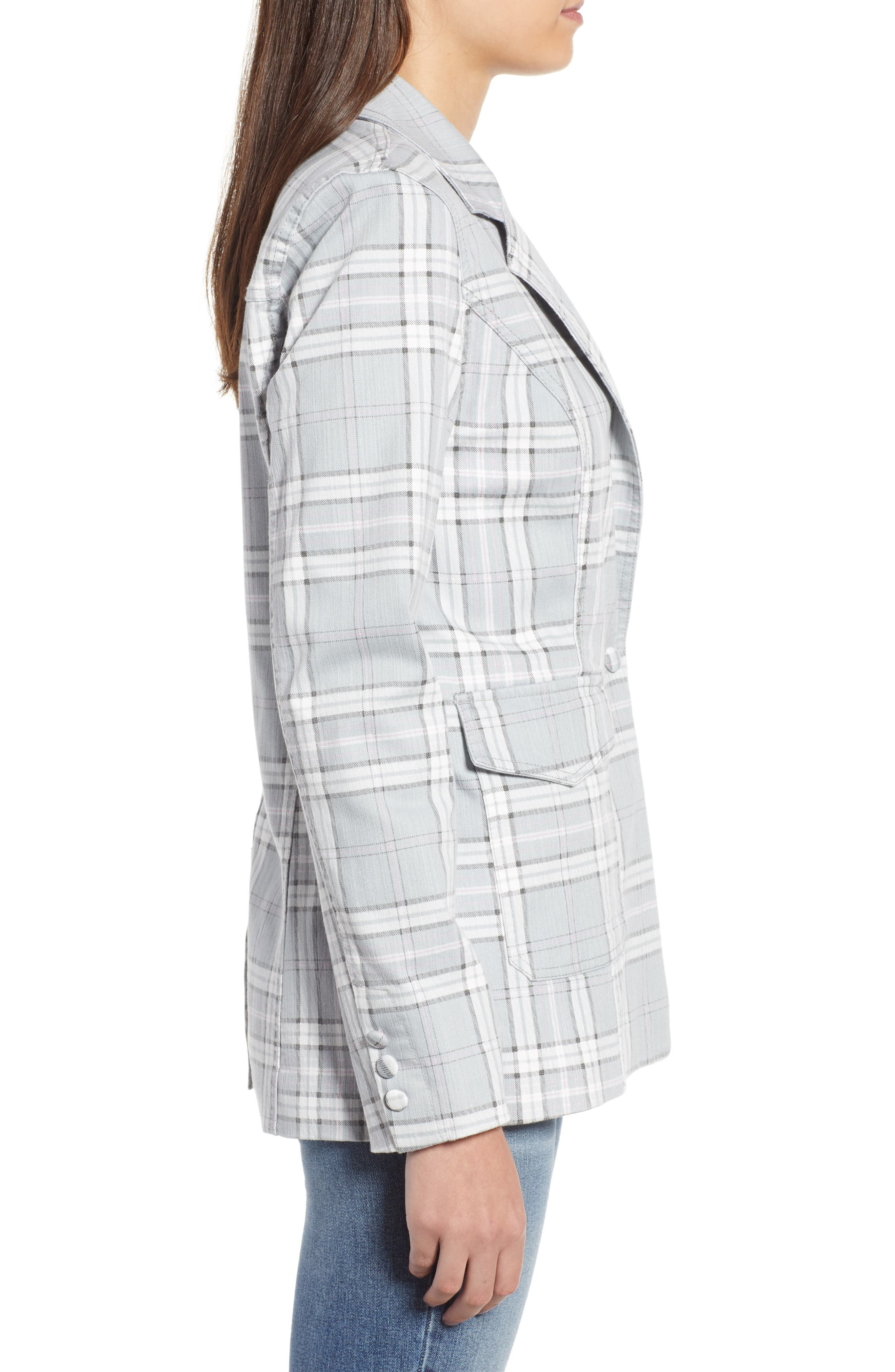Lila Plaid Blazer,                             Alternate thumbnail 3, color,                             SOFT GREY PLAID