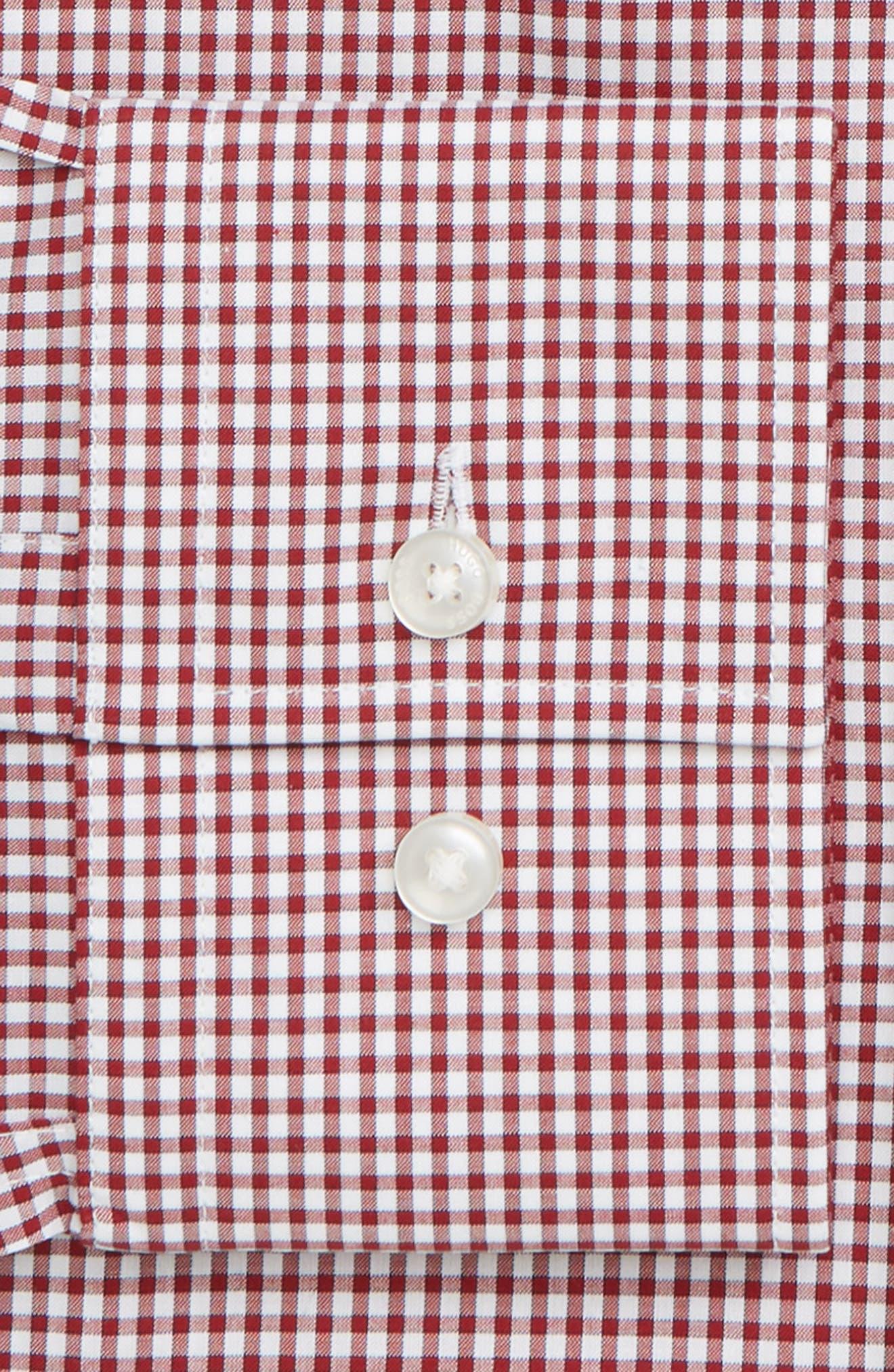Jenno Slim Fit Check Dress Shirt,                             Alternate thumbnail 6, color,                             RED