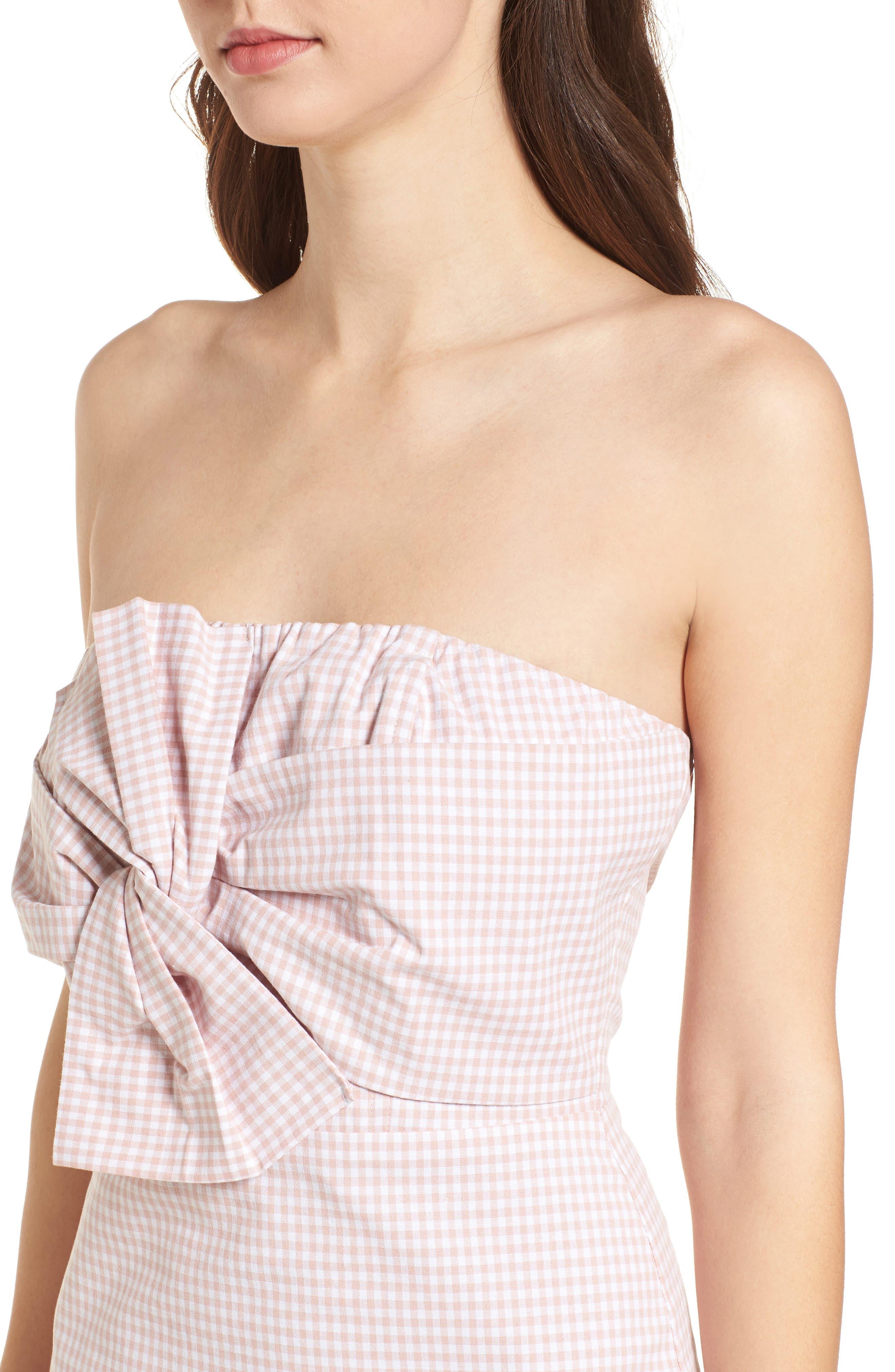 Strapless Gingham Dress,                             Alternate thumbnail 8, color,