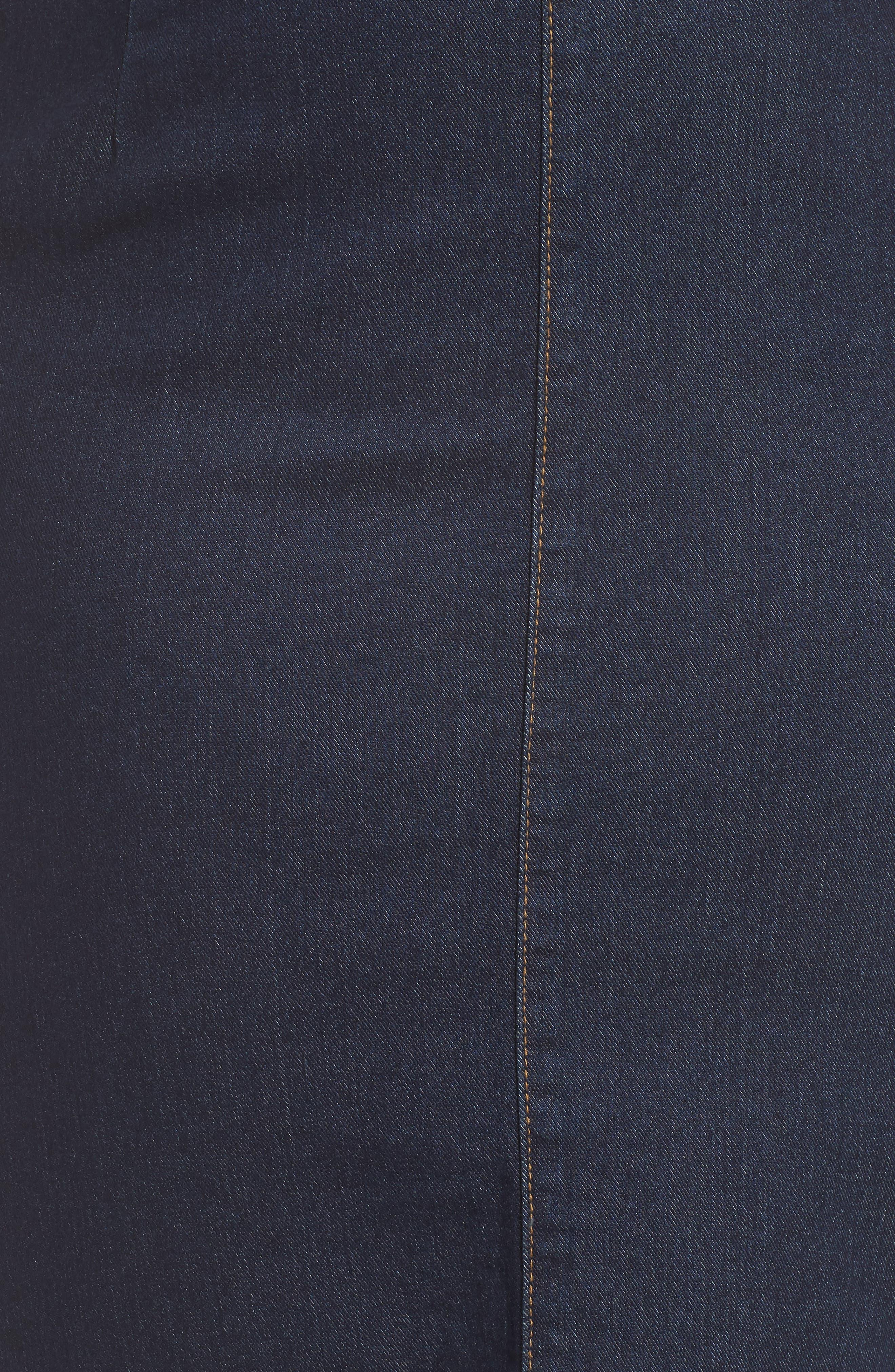 Denim Pencil Skirt,                             Alternate thumbnail 5, color,                             DARK DENIM