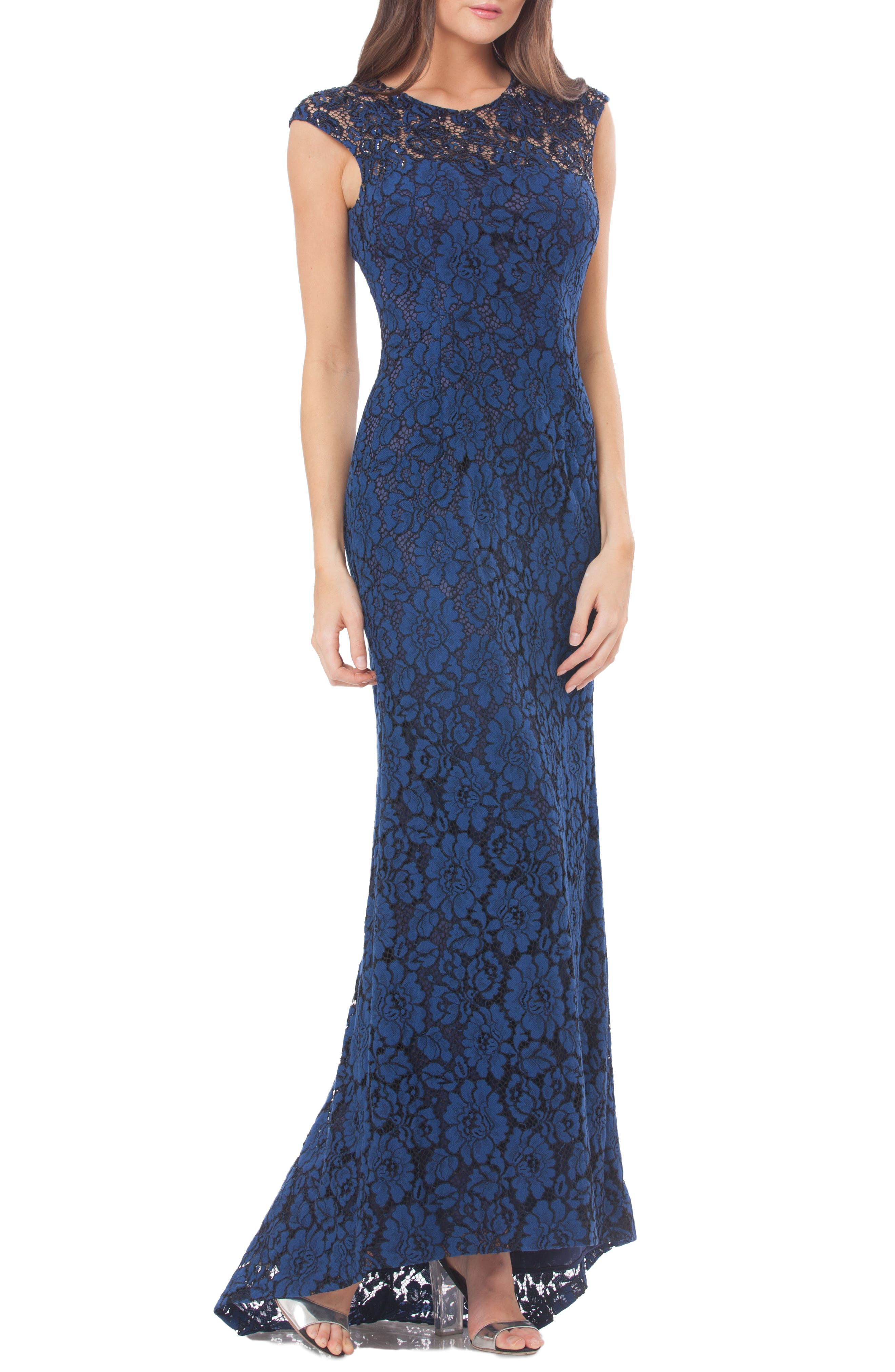 Lace Gown with Train,                             Main thumbnail 1, color,                             424