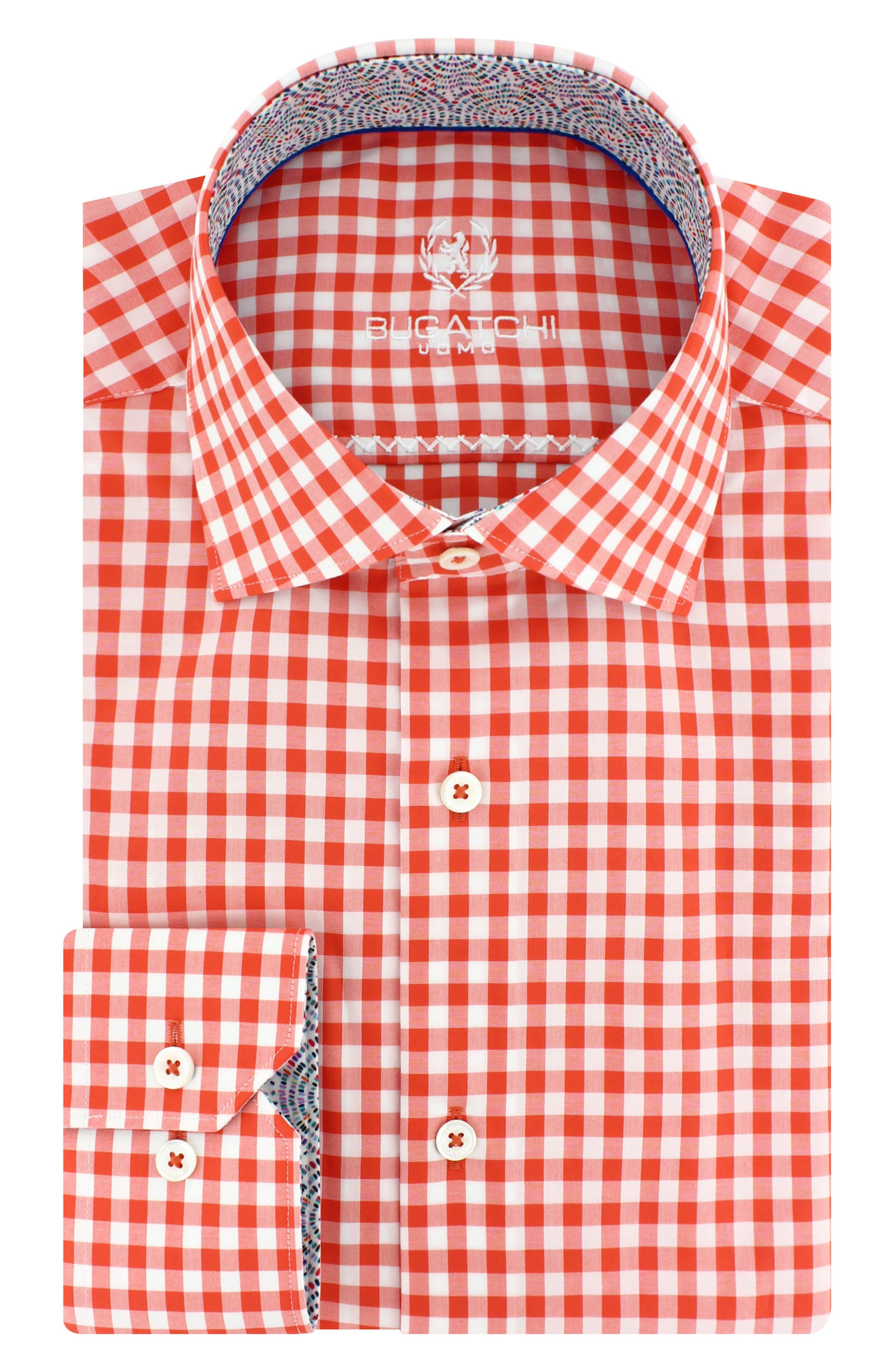 Trim Fit Check Dress Shirt,                             Main thumbnail 5, color,