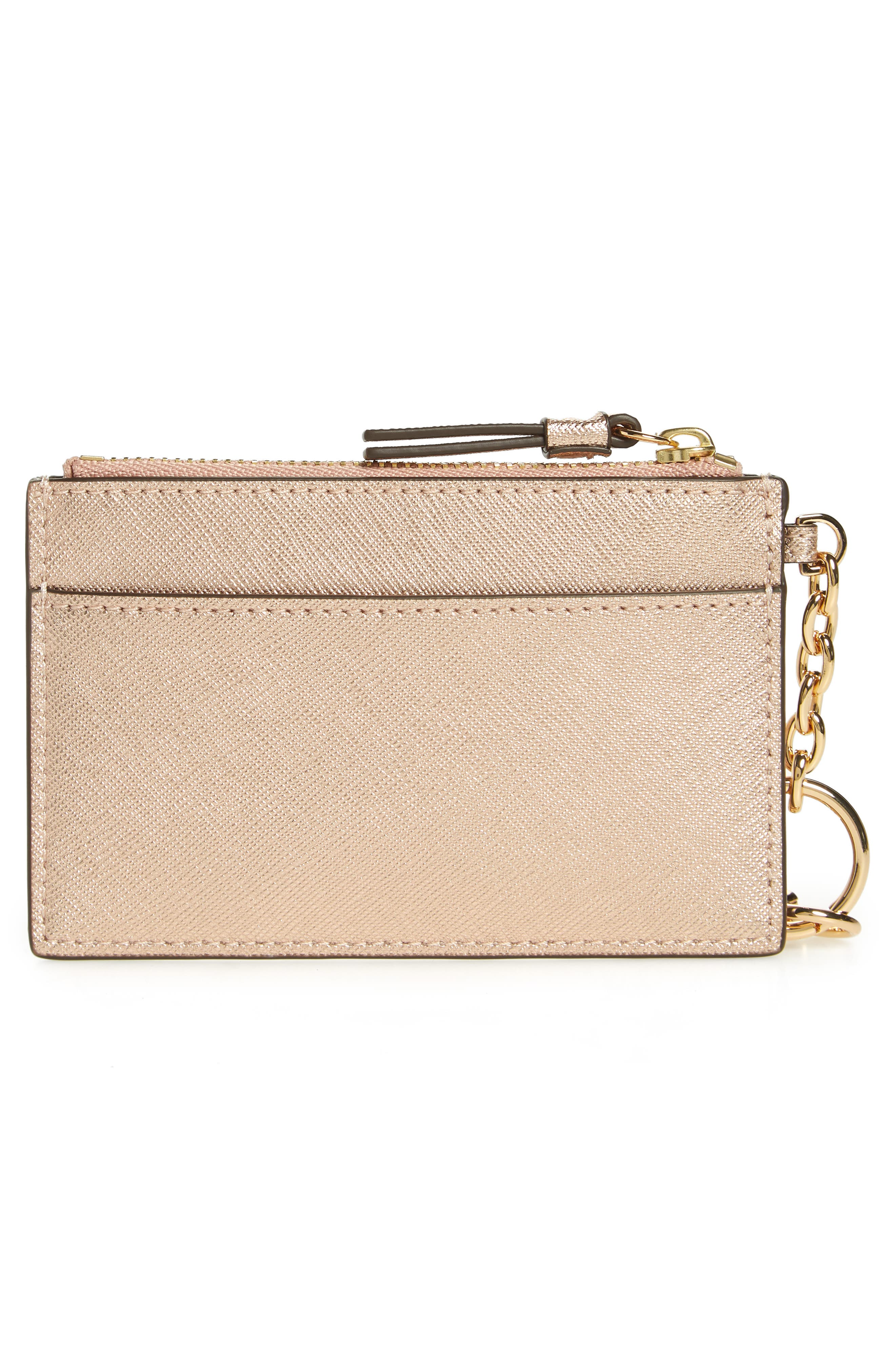 Robinson Metallic Leather Card Case with Key Chain,                             Alternate thumbnail 3, color,                             650