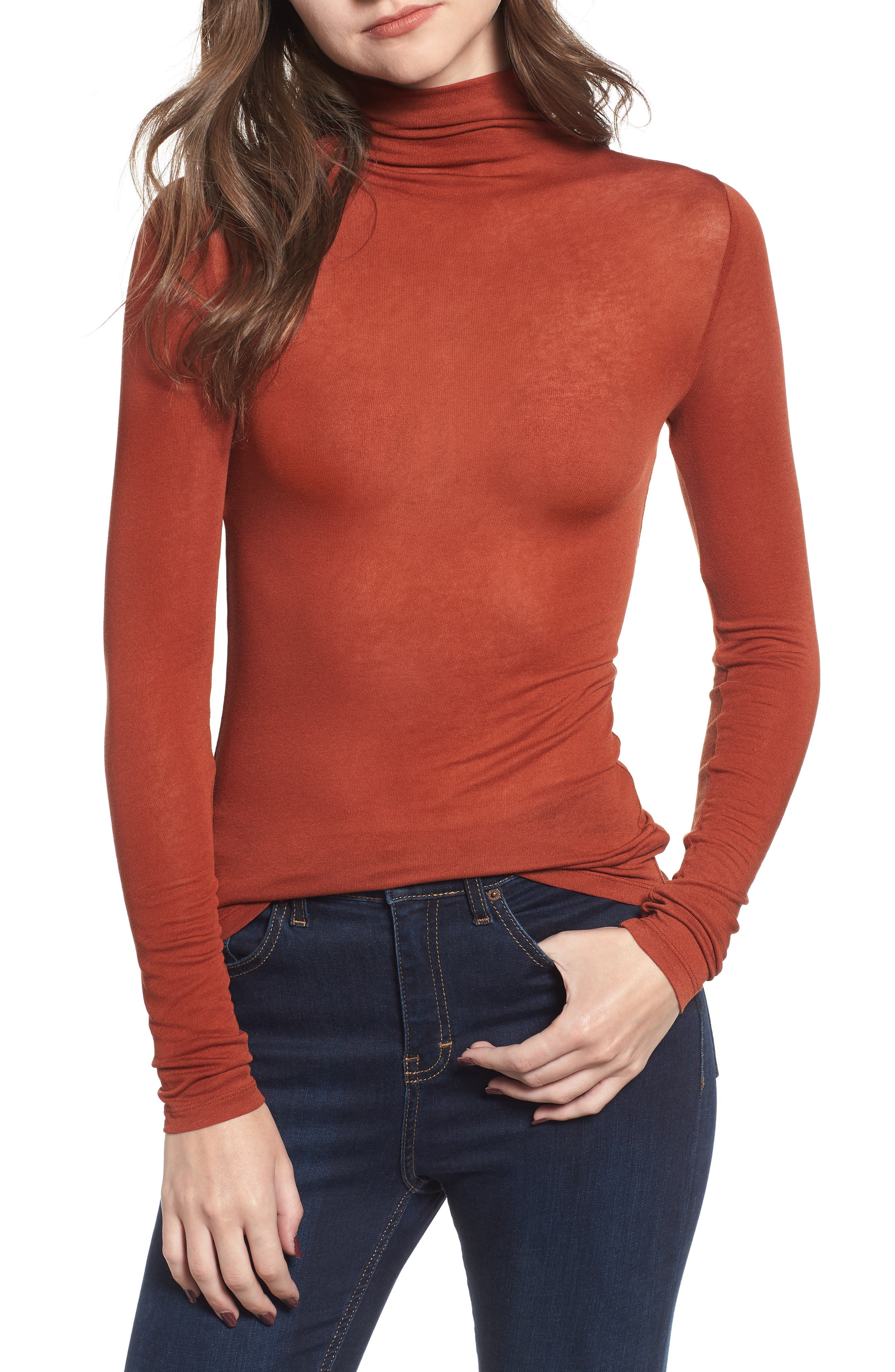 Lightweight Long Sleeve Funnel Neck Top,                         Main,                         color, BROWN SPICE