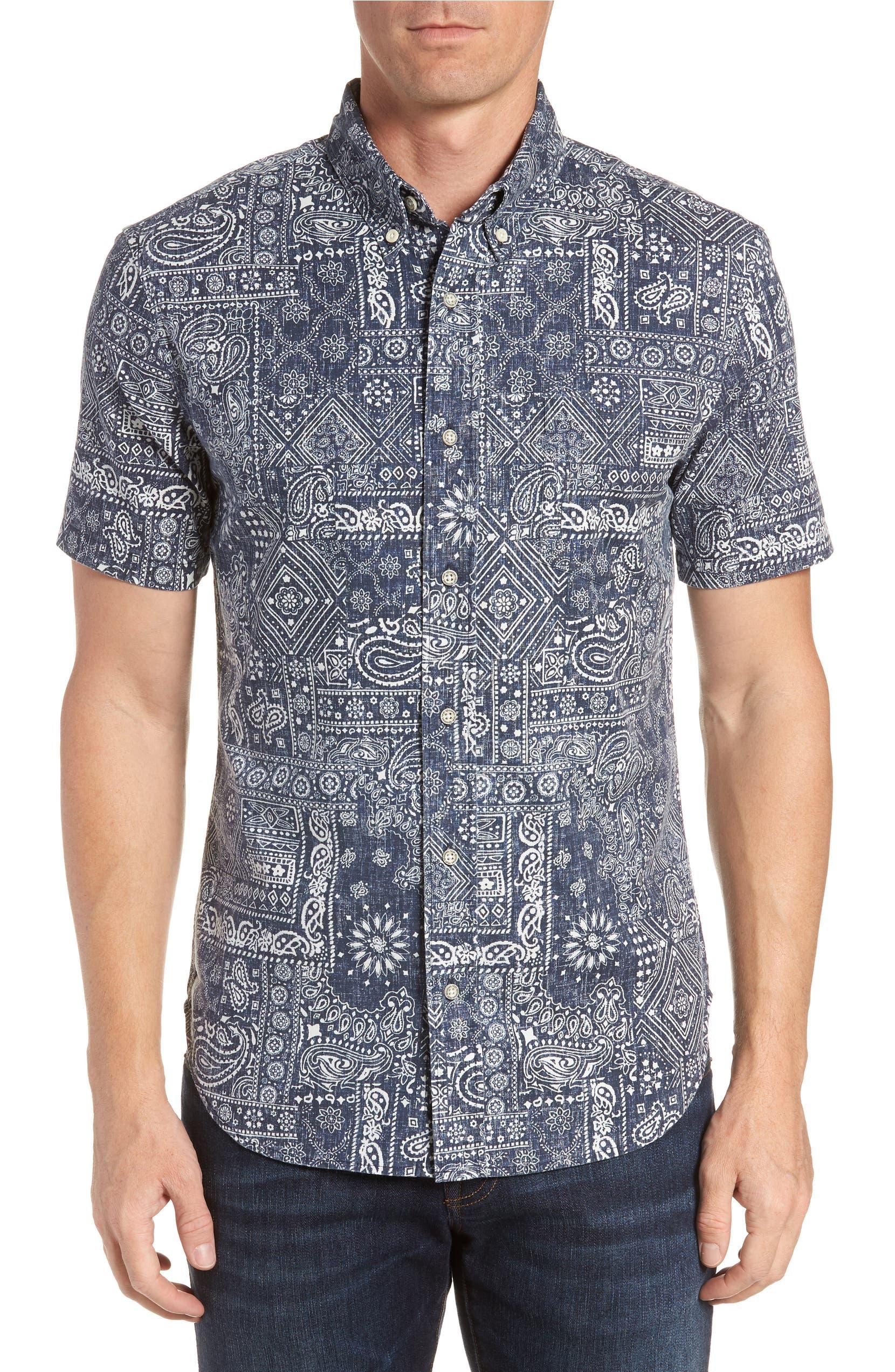 b097f156d191 Reyn Spooner Aloha Bandana Regular Fit Sport Shirt