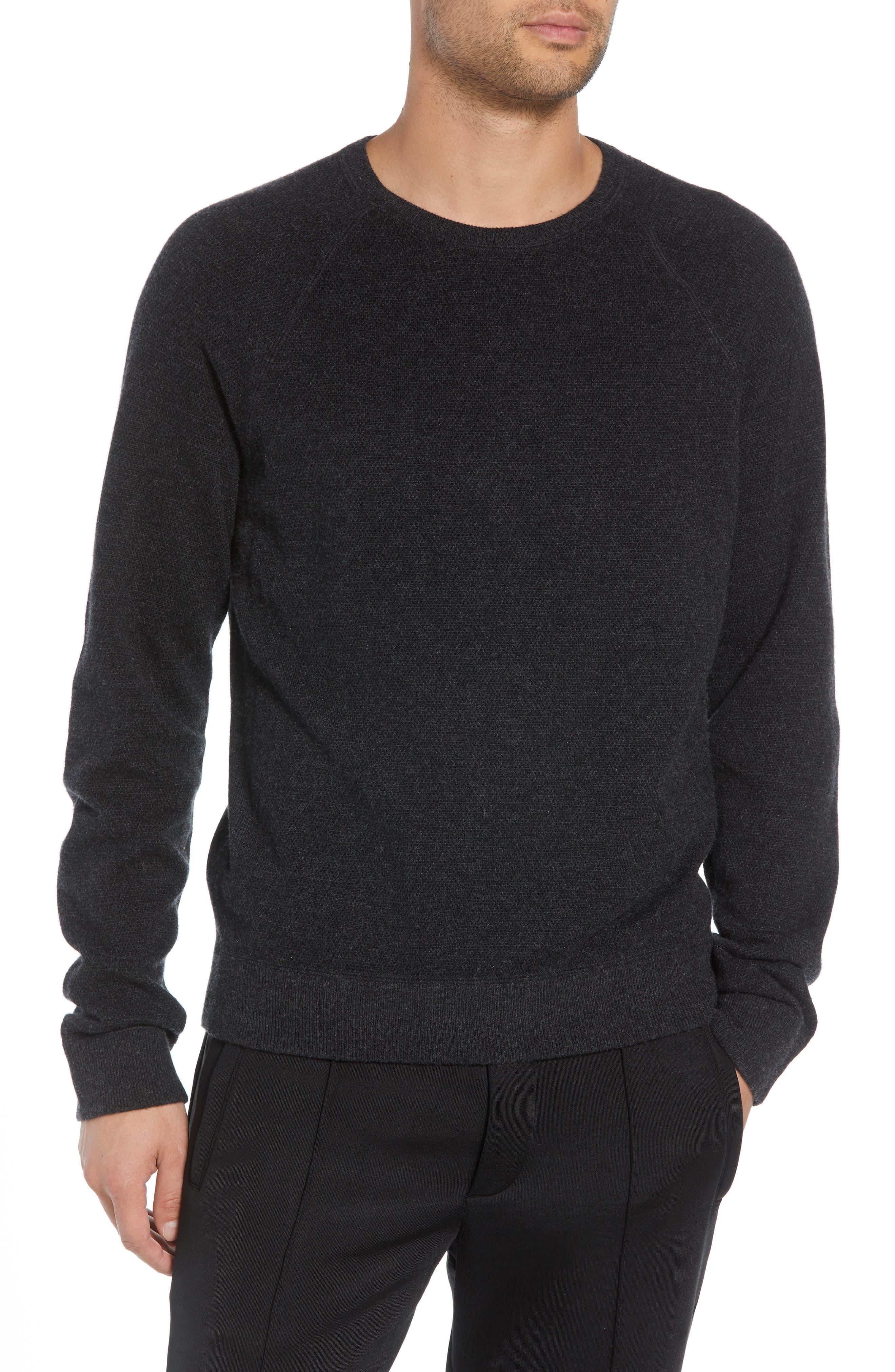 Bird's Eye Sweater,                             Main thumbnail 1, color,                             H CHARCOAL/ BLACK