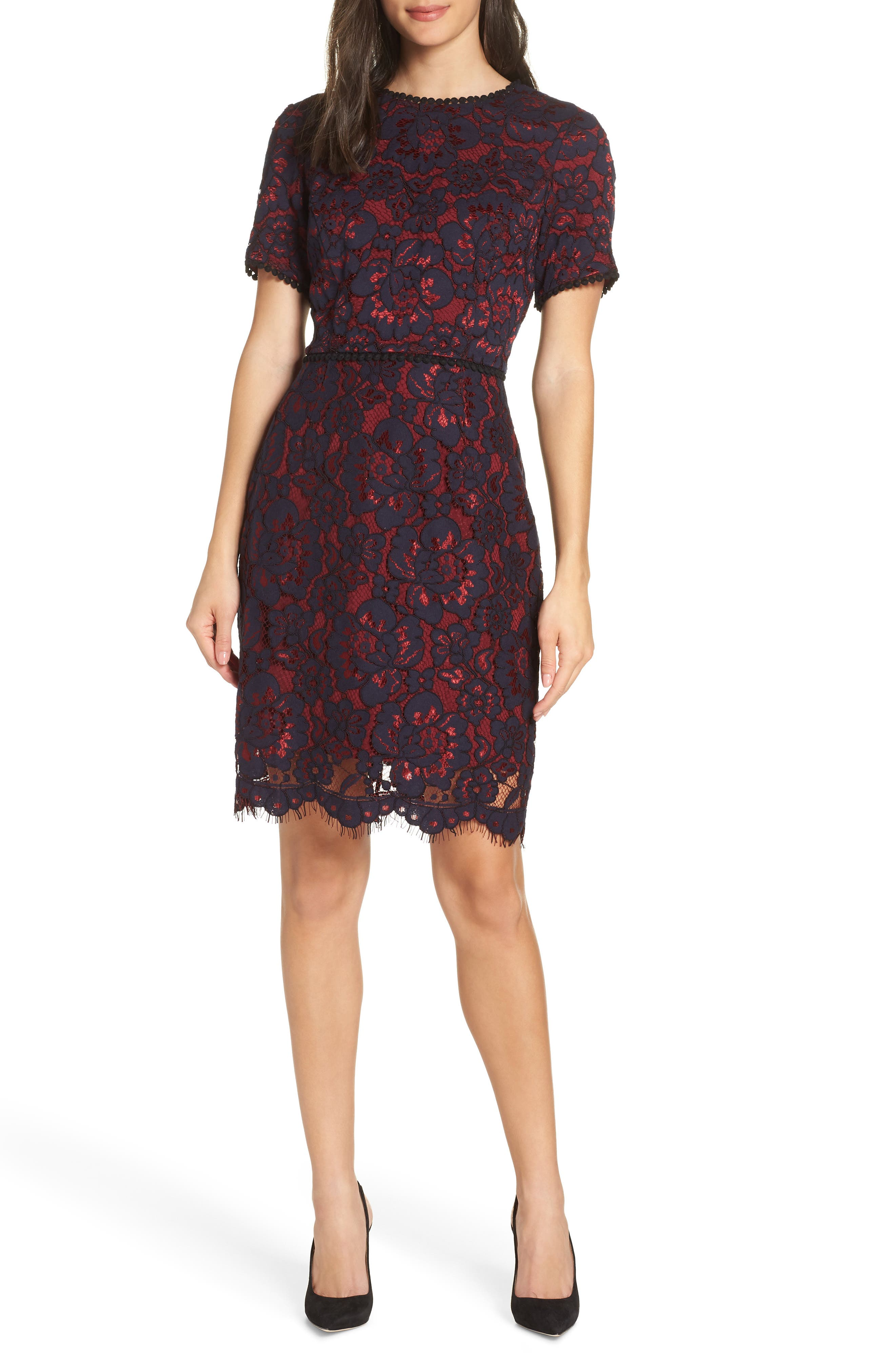 Lace Sheath Dress,                             Main thumbnail 1, color,                             NAVY/ WINE LACE