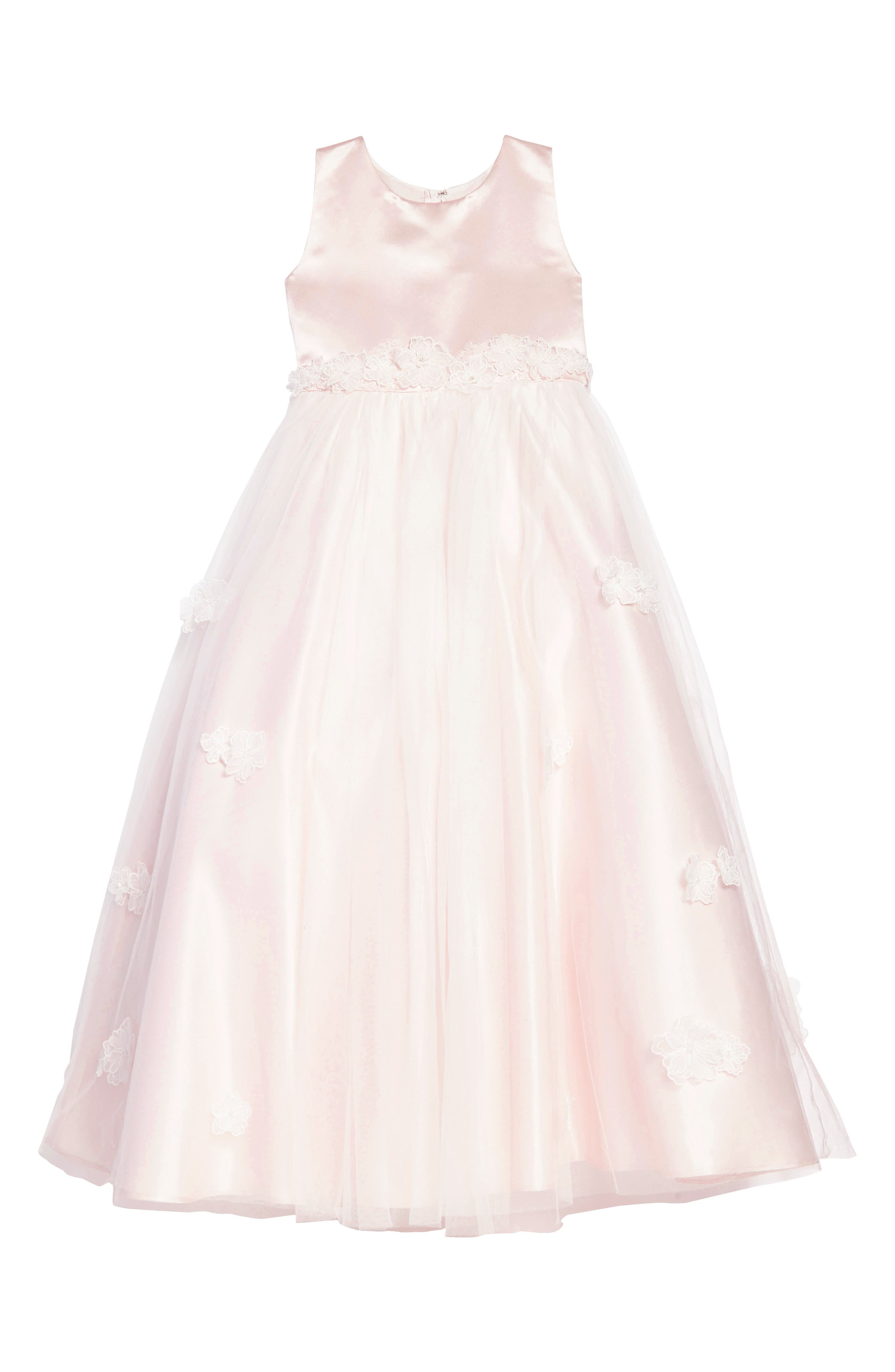 Satin & Tulle Dress,                         Main,                         color, PETAL/ IVORY