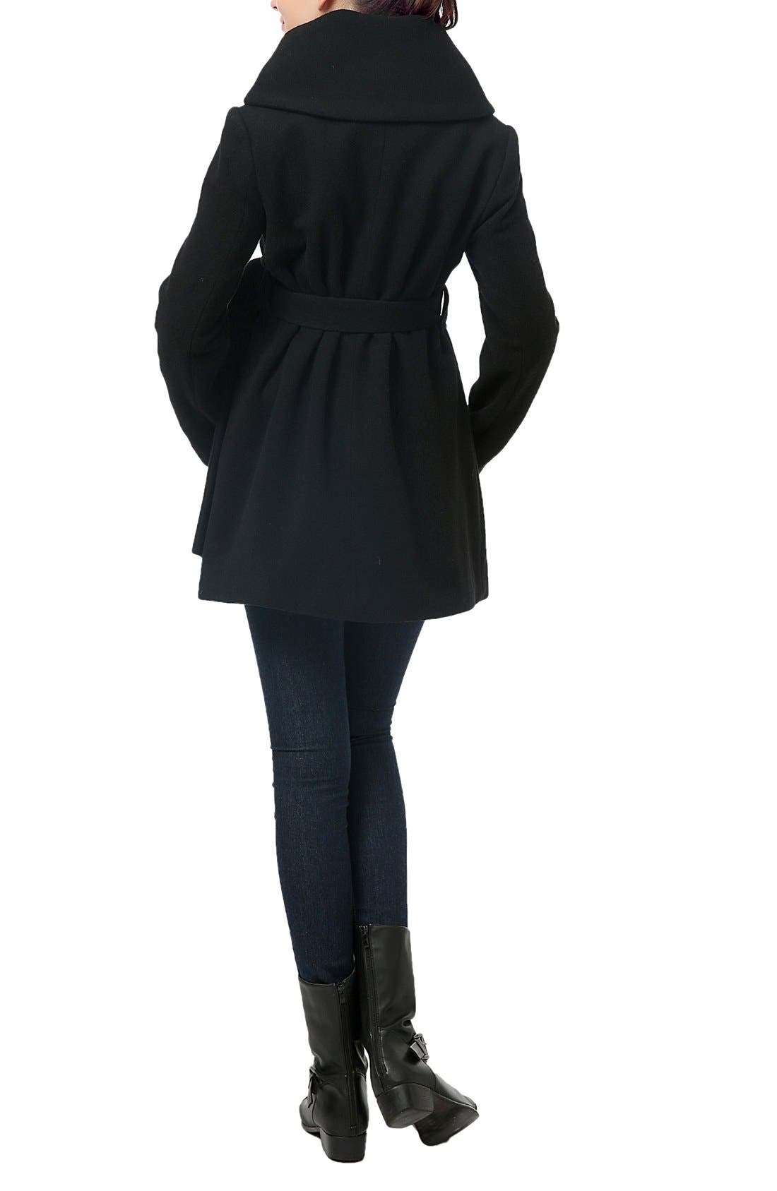 'Mia' High Collar Maternity Coat,                             Alternate thumbnail 2, color,                             BLACK