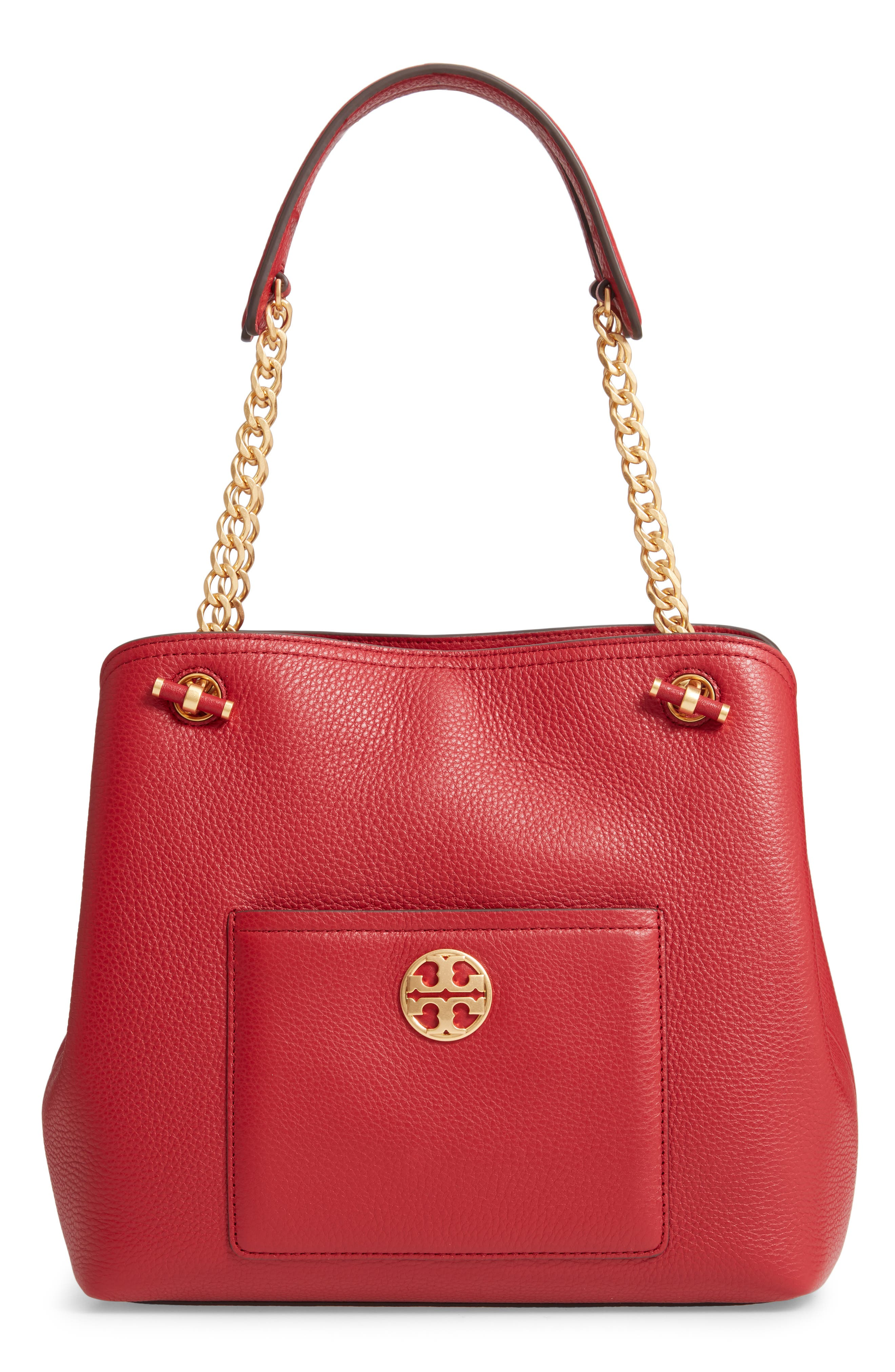 Chelsea Slouchy Leather Shoulder Tote Bag in Redstone
