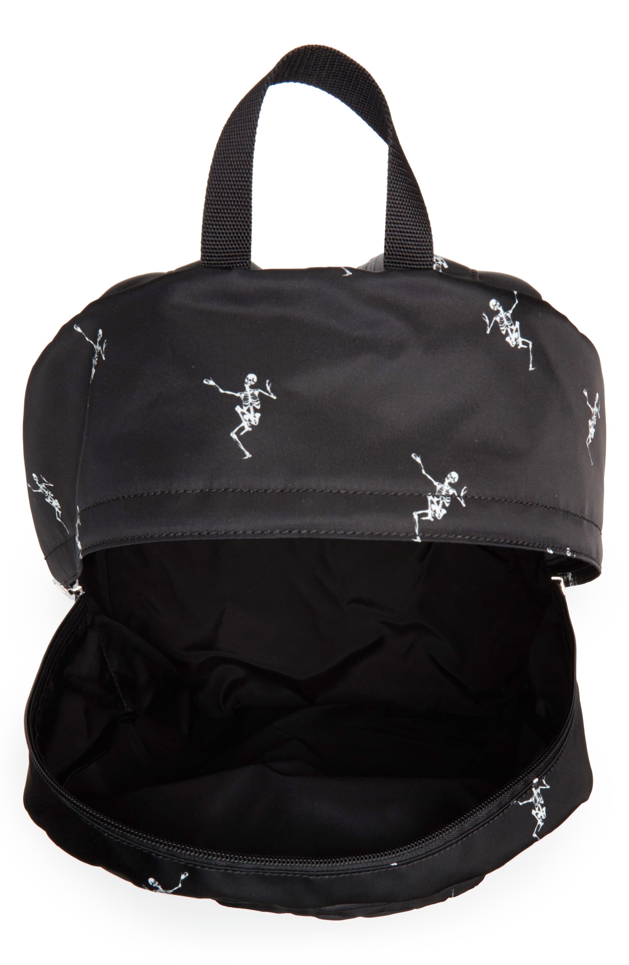 Dancing Skeleton Backpack,                             Alternate thumbnail 4, color,                             BLACK/ OFF WHITE