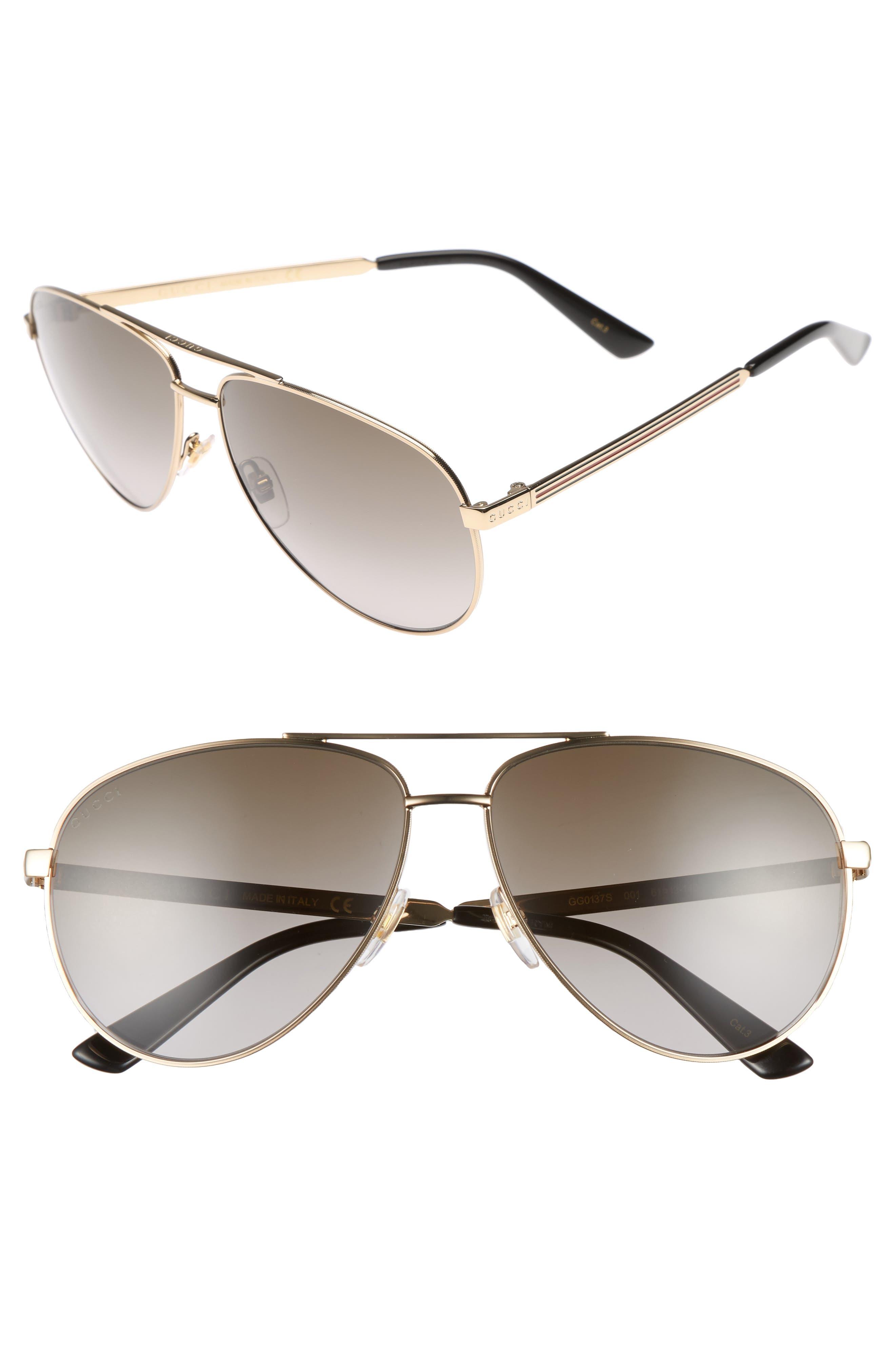 61mm Aviator Sunglasses,                         Main,                         color, GOLD/BROWN