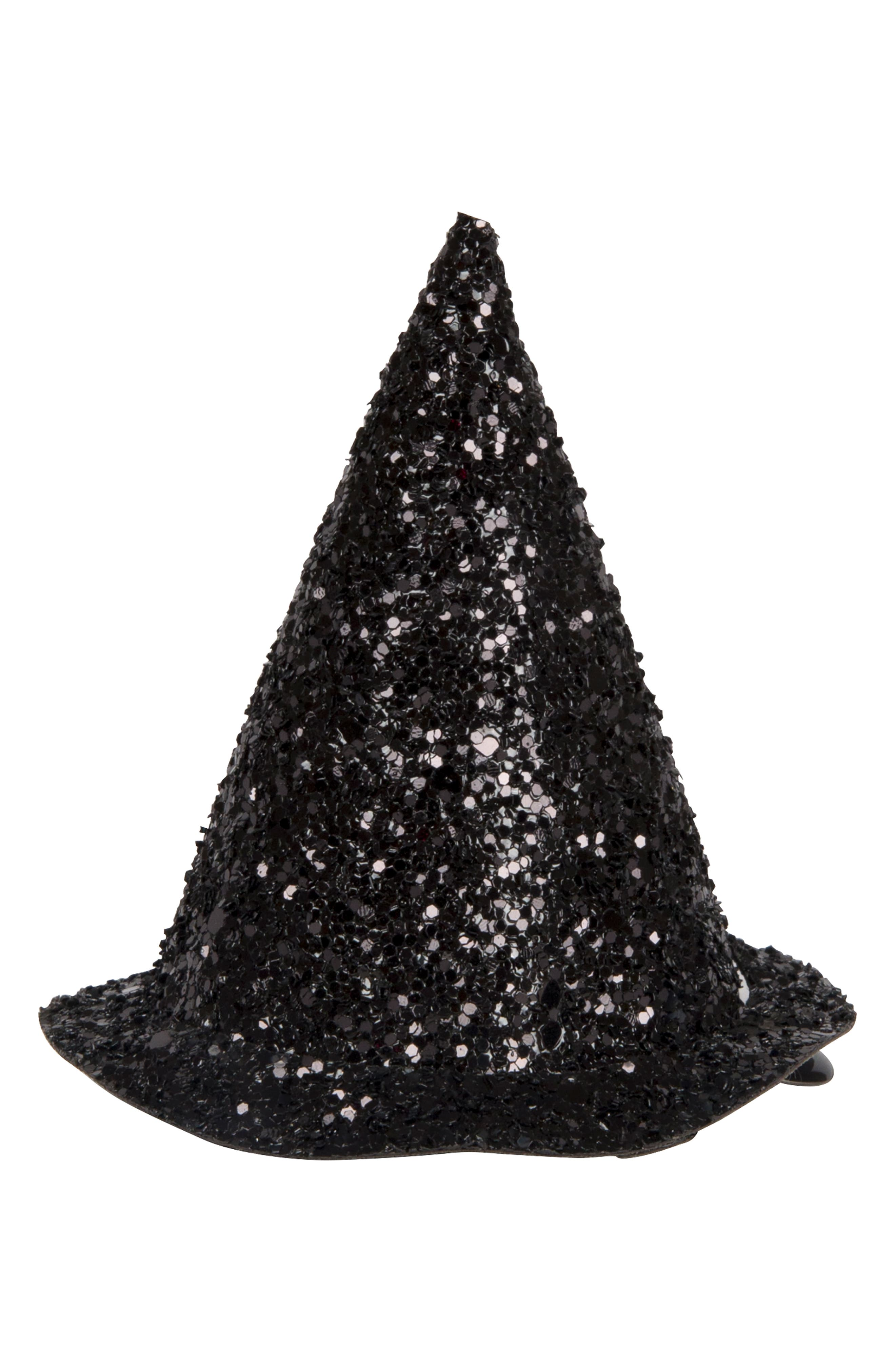 Glitter Witch Hat Hair Clip,                             Main thumbnail 1, color,                             BLACK
