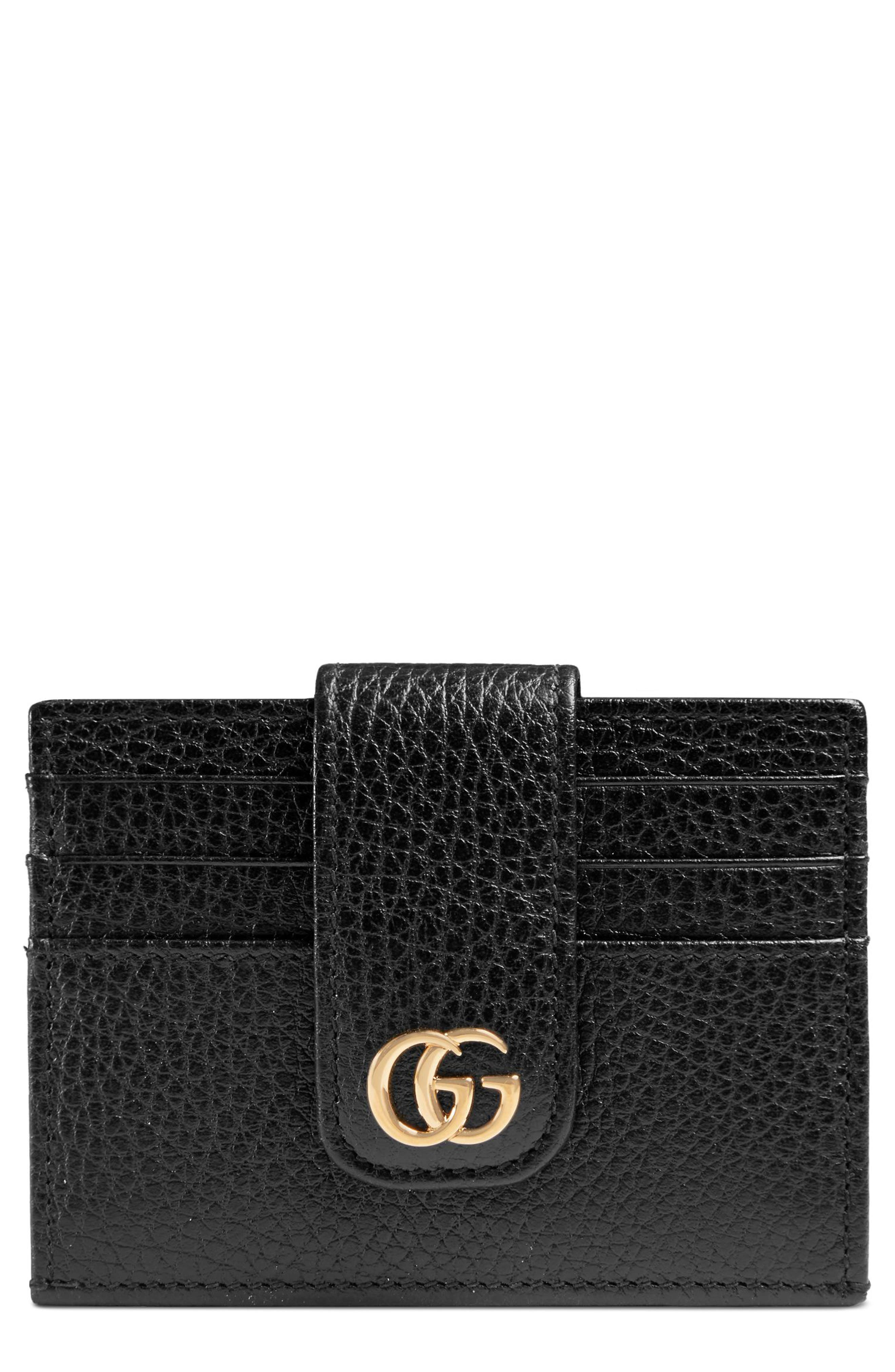 GG Marmont Leather Card Case,                         Main,                         color, NERO