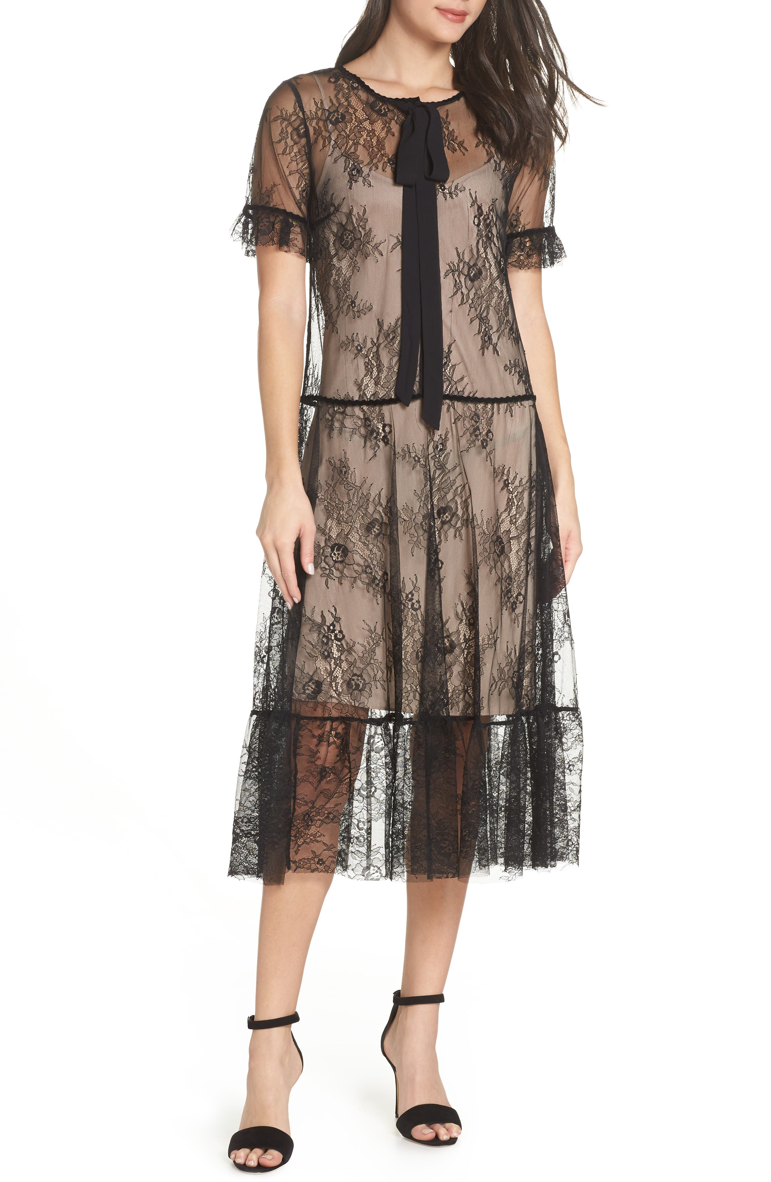 1920s Downton Abbey Dresses Womens Caara Street Sheer Lace Midi Dress $159.00 AT vintagedancer.com