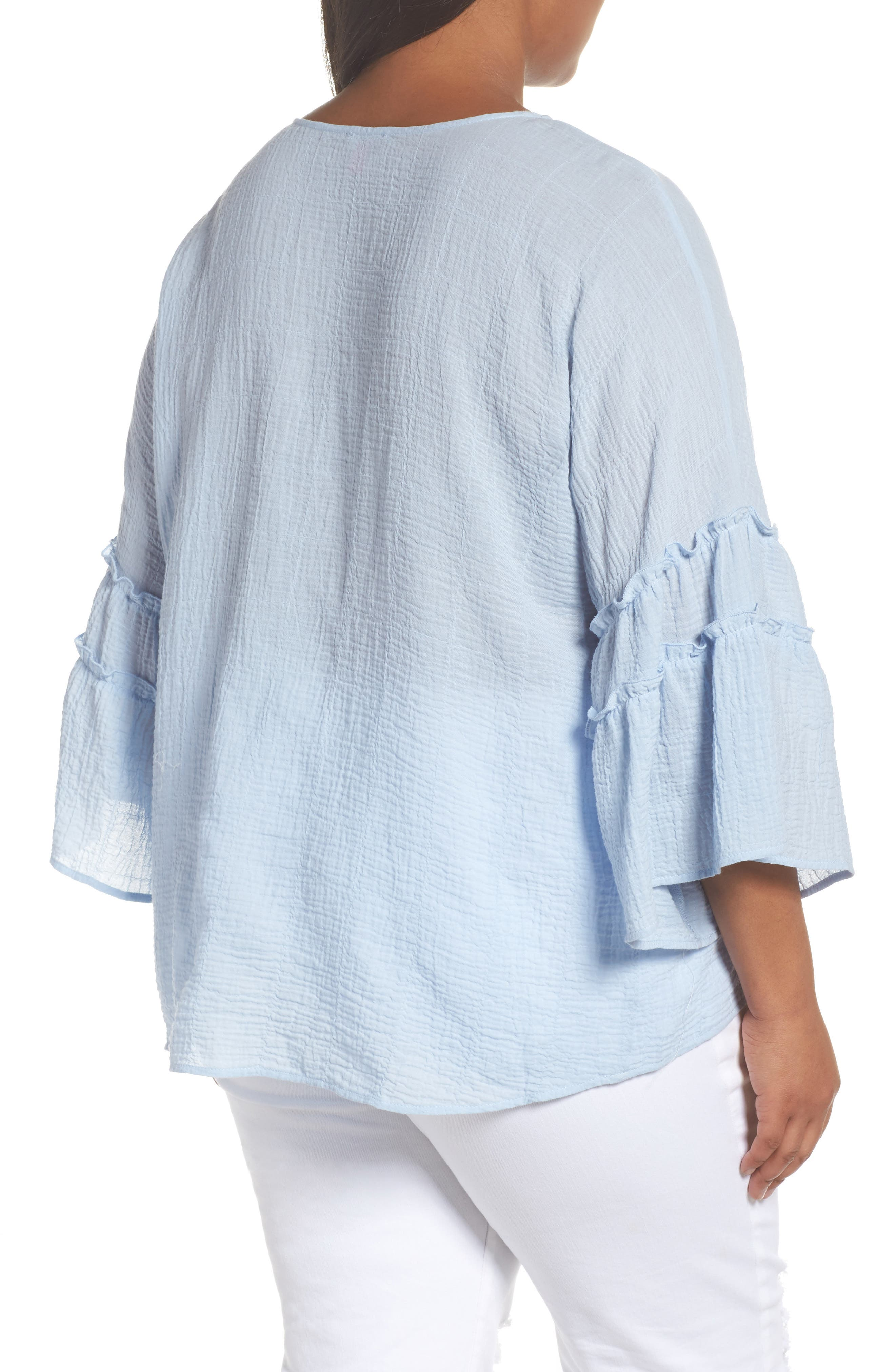 Crinkle Cotton Blouse,                             Alternate thumbnail 4, color,