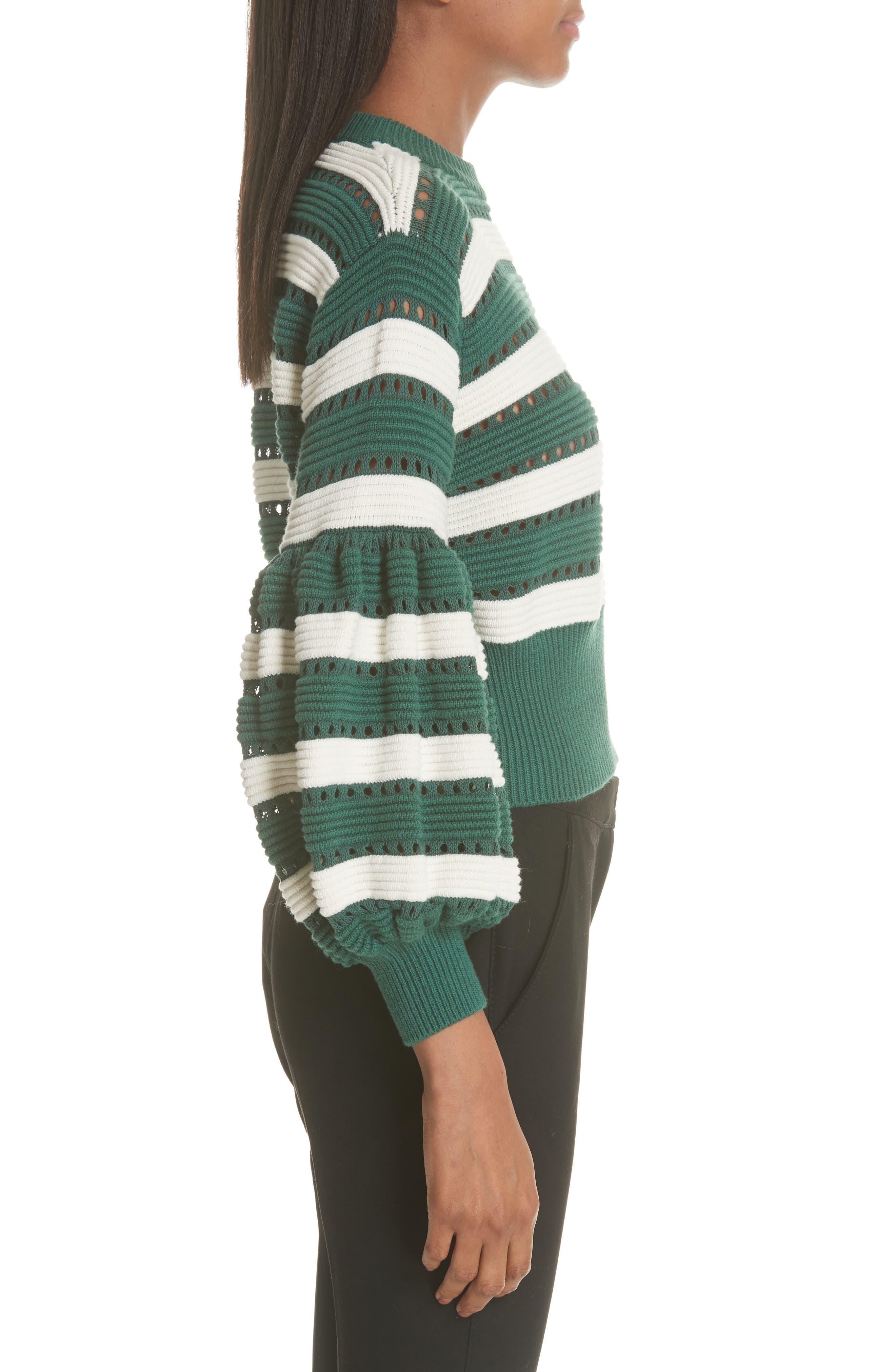Puff Sleeve Cotton & Wool Crop Sweater,                             Alternate thumbnail 3, color,                             GREEN-CREAM