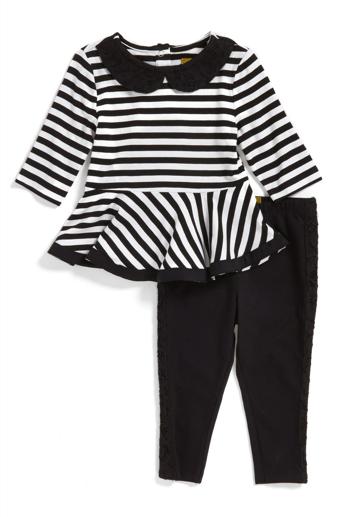 Stripe Peplum Tunic & Leggings,                             Main thumbnail 1, color,                             001