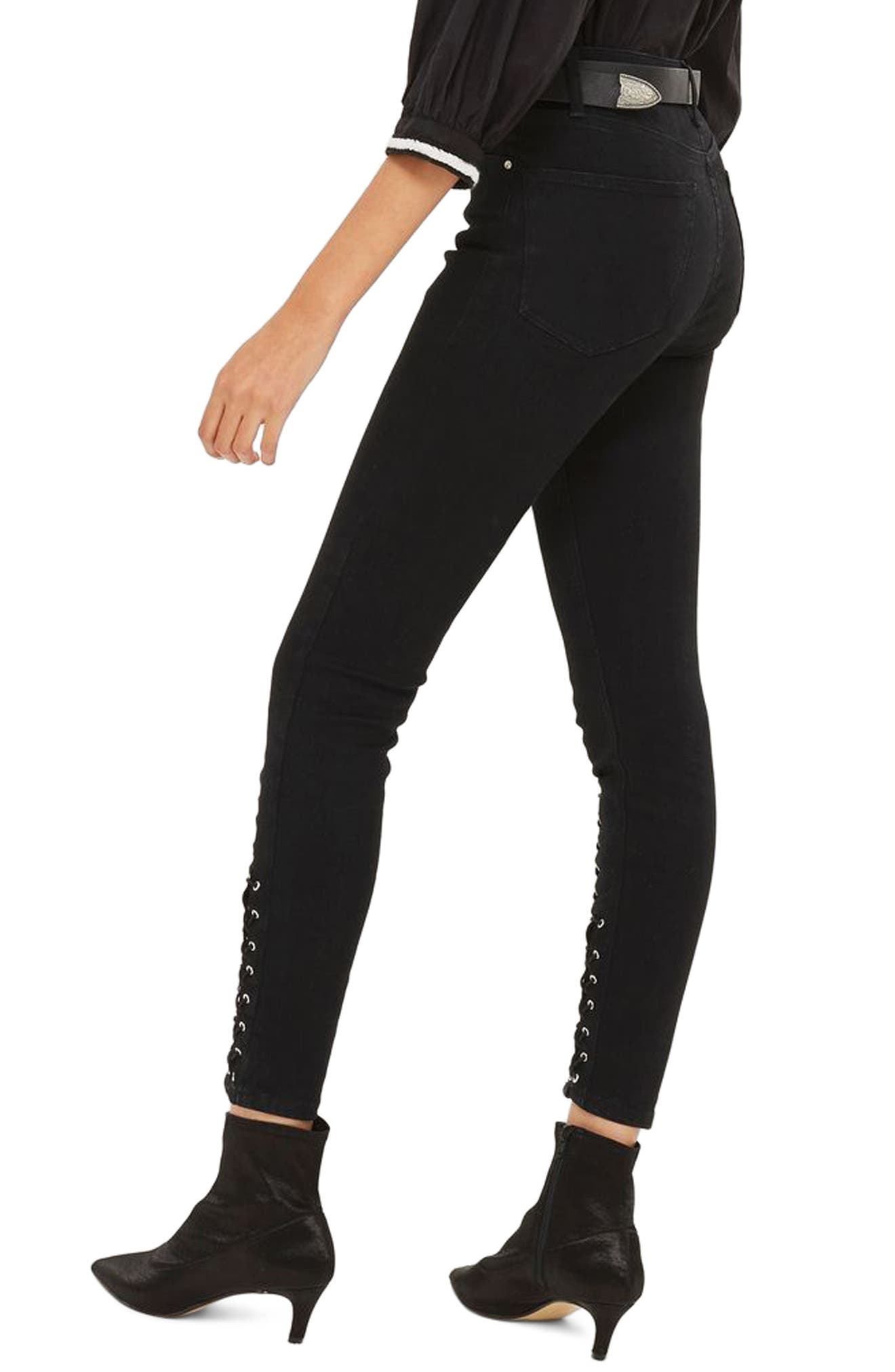 Lattice Crop Skinny Jeans,                             Alternate thumbnail 2, color,                             001