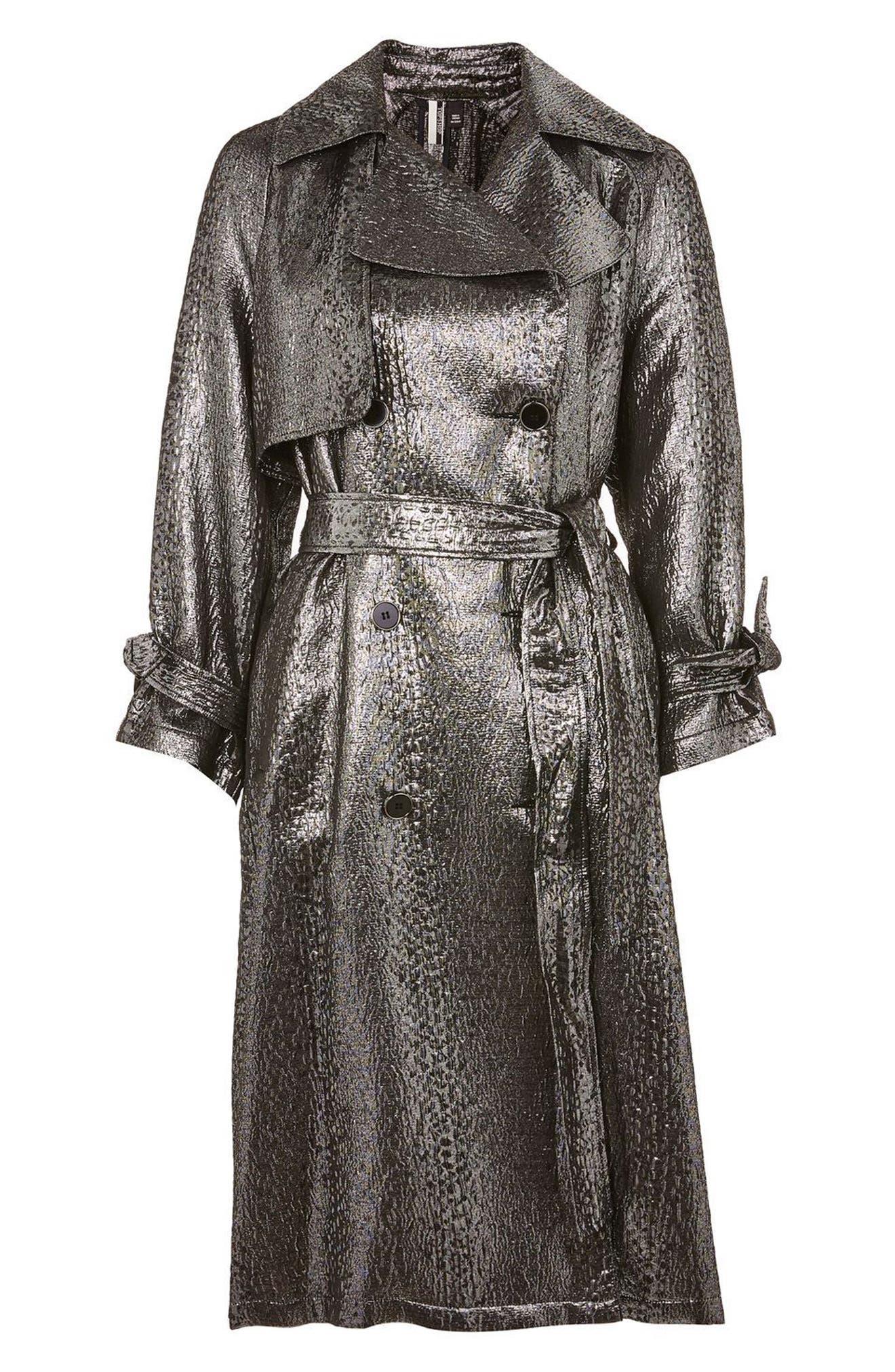 Metallic Trench Coat,                             Alternate thumbnail 5, color,                             043
