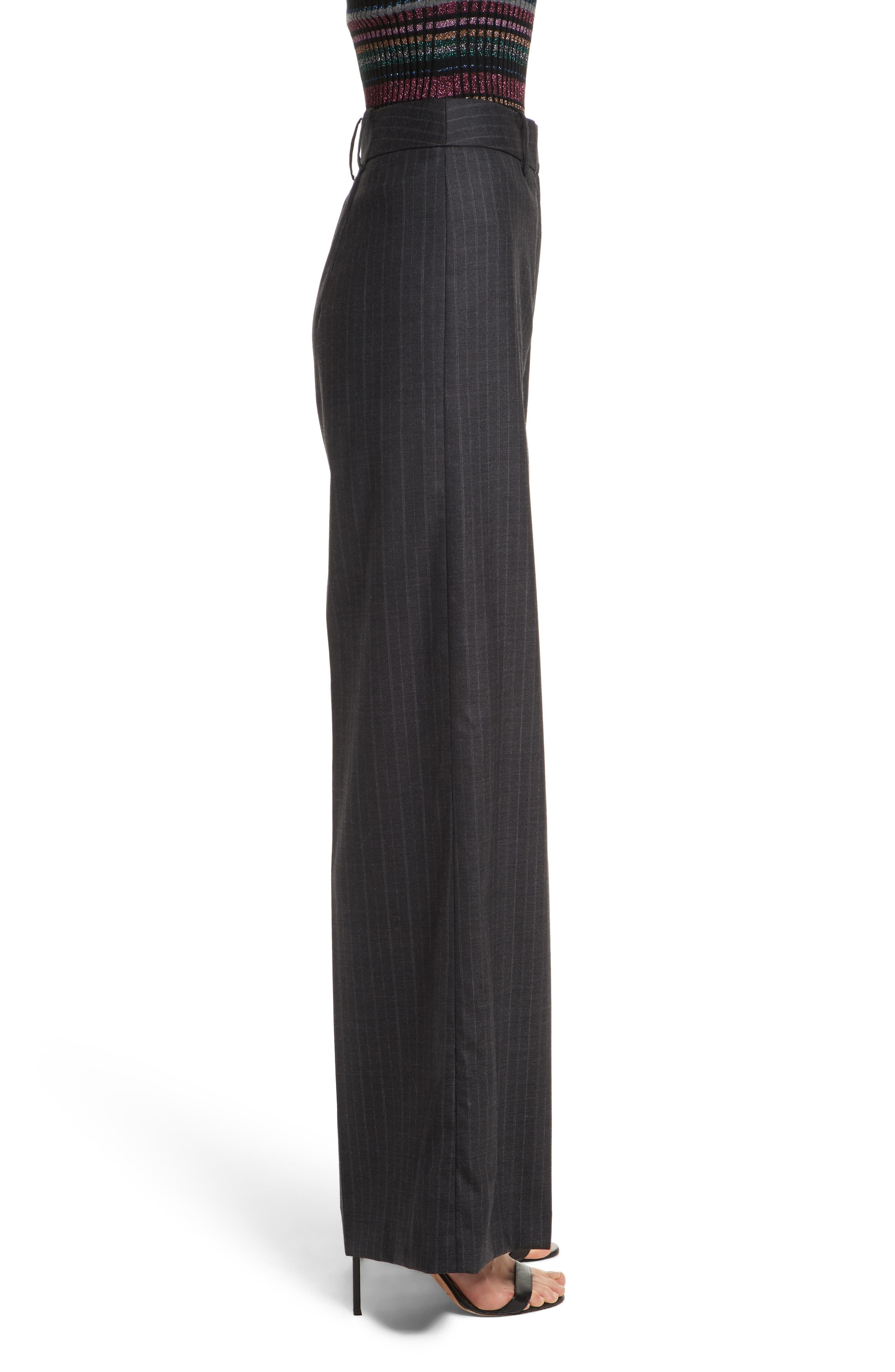 Sia Pinstripe Italian Stretch Wool Trousers,                             Alternate thumbnail 3, color,