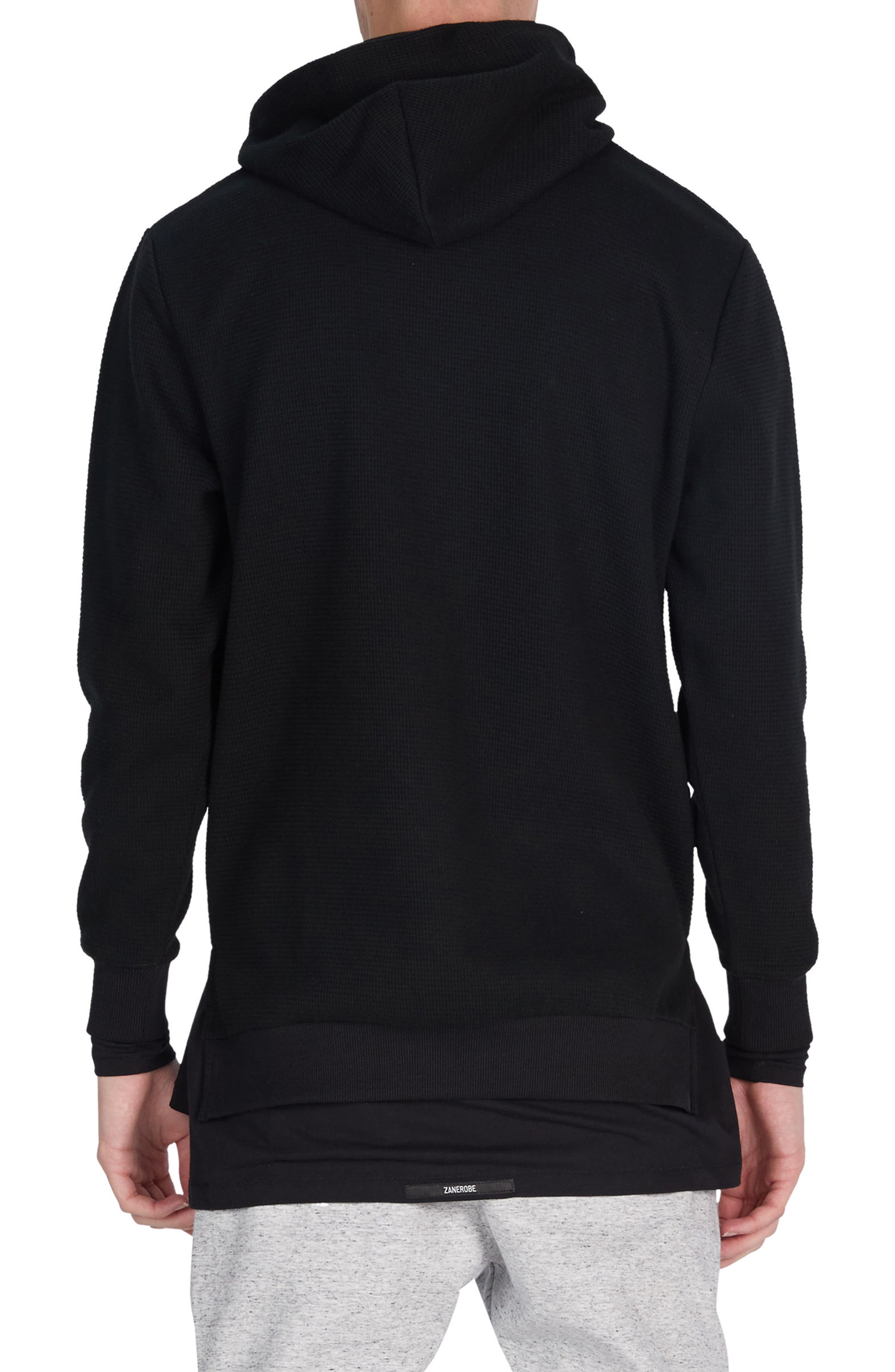 Waffle Knit Hoodie,                             Alternate thumbnail 2, color,                             001