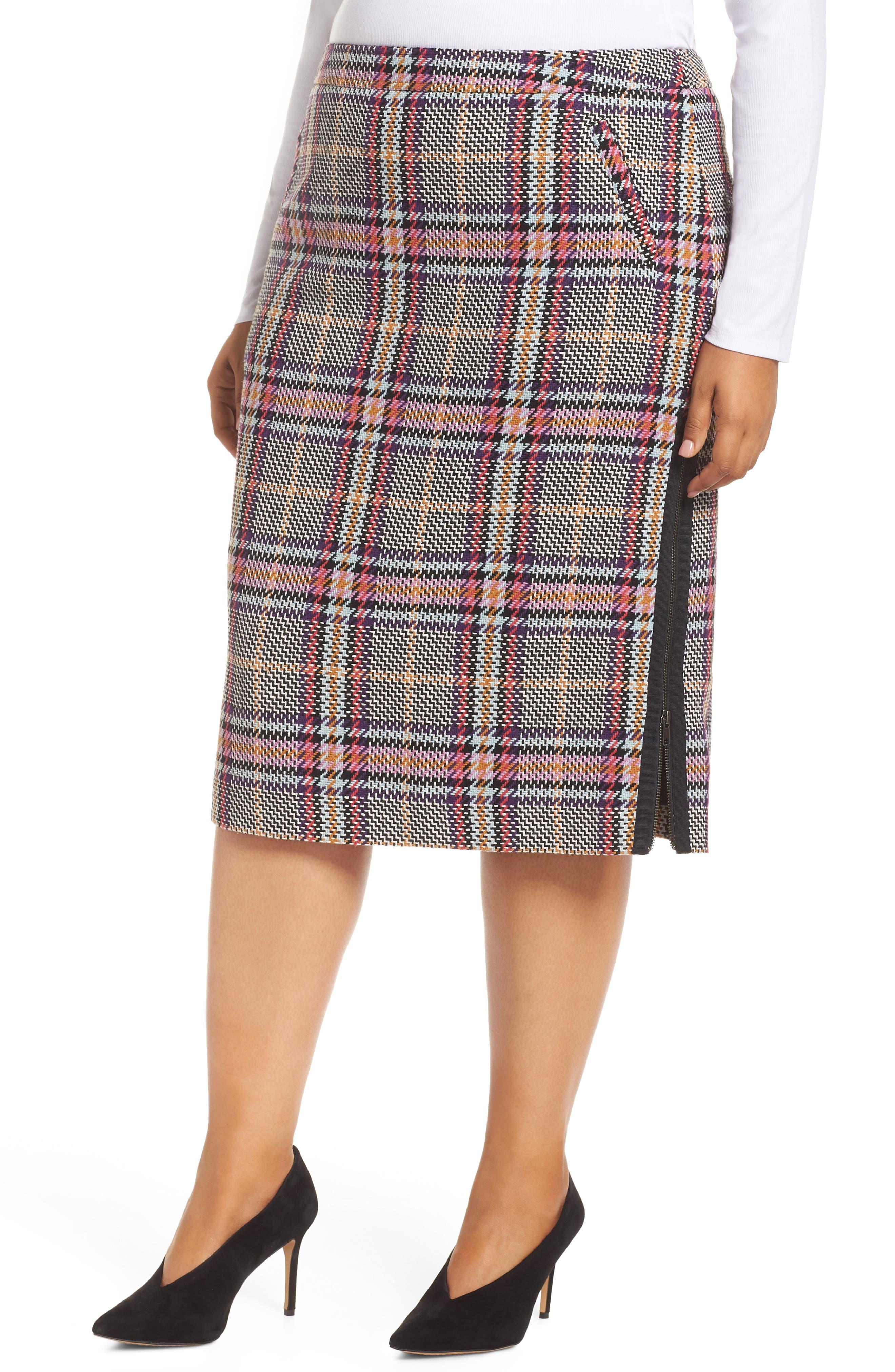 Plaid Pencil Skirt,                         Main,                         color, 530