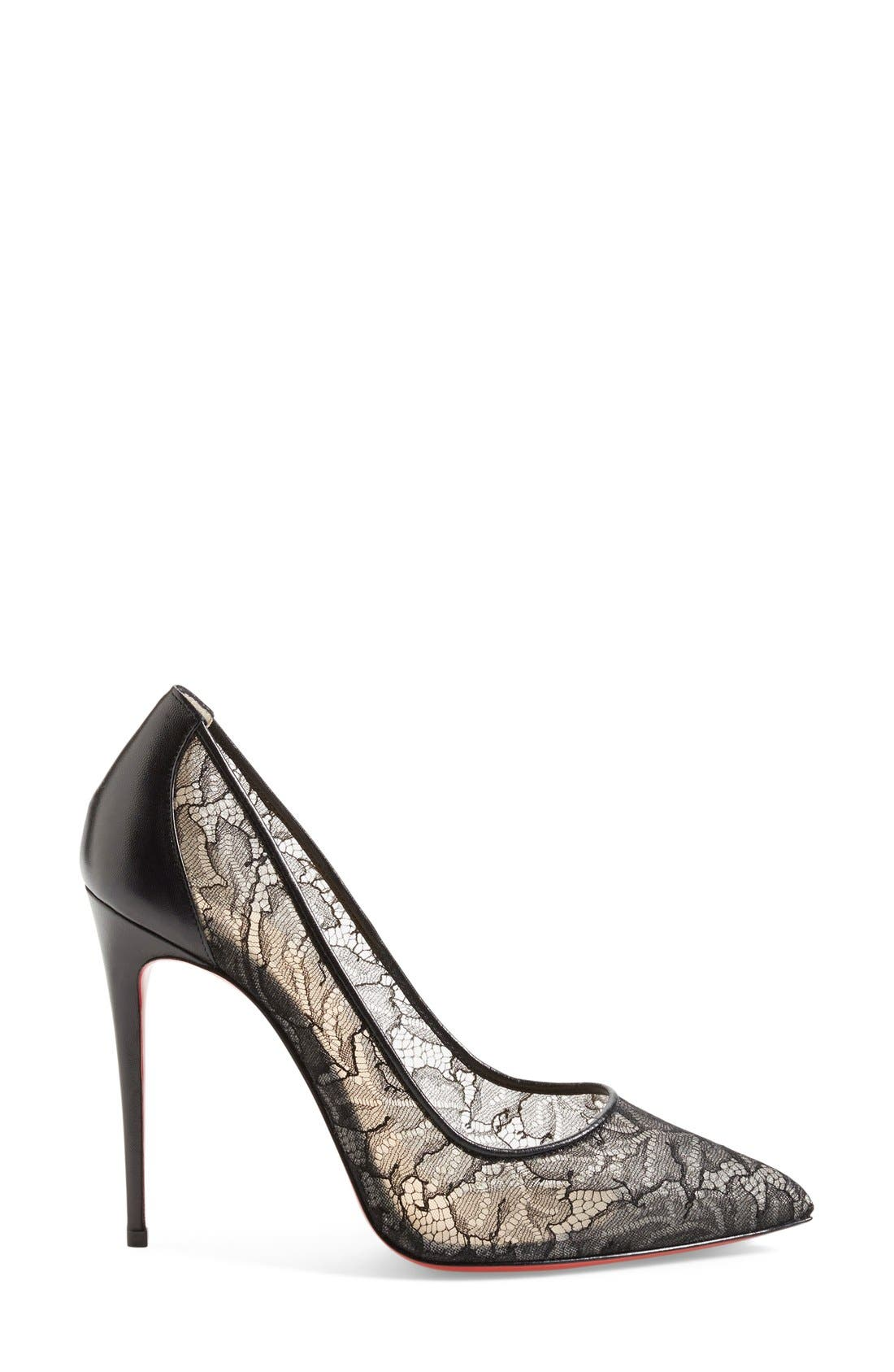 'Follies' Lace Pointy Toe Pump,                             Alternate thumbnail 2, color,                             001