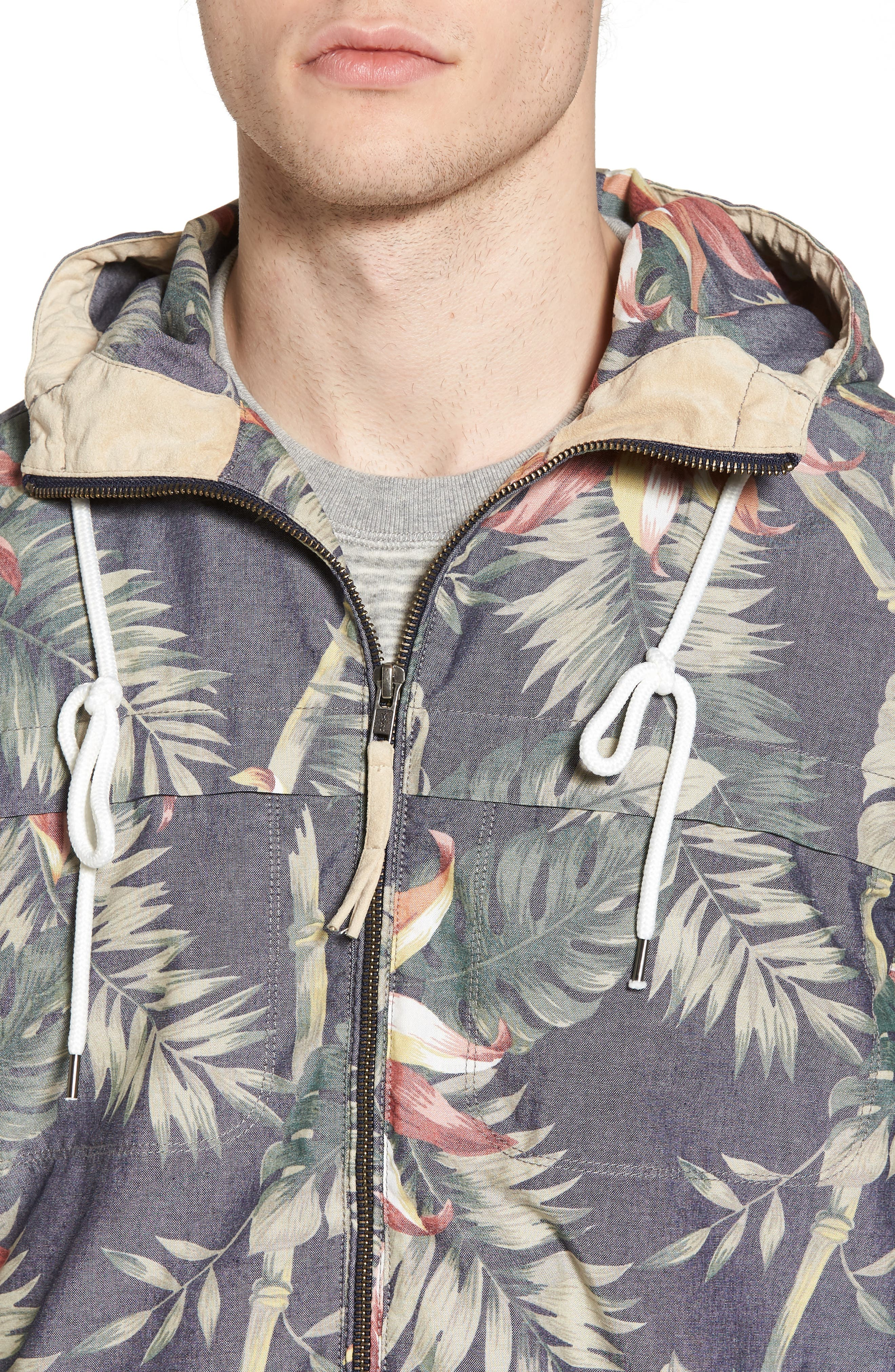 Print Hooded Beach Jacket,                             Alternate thumbnail 4, color,                             401