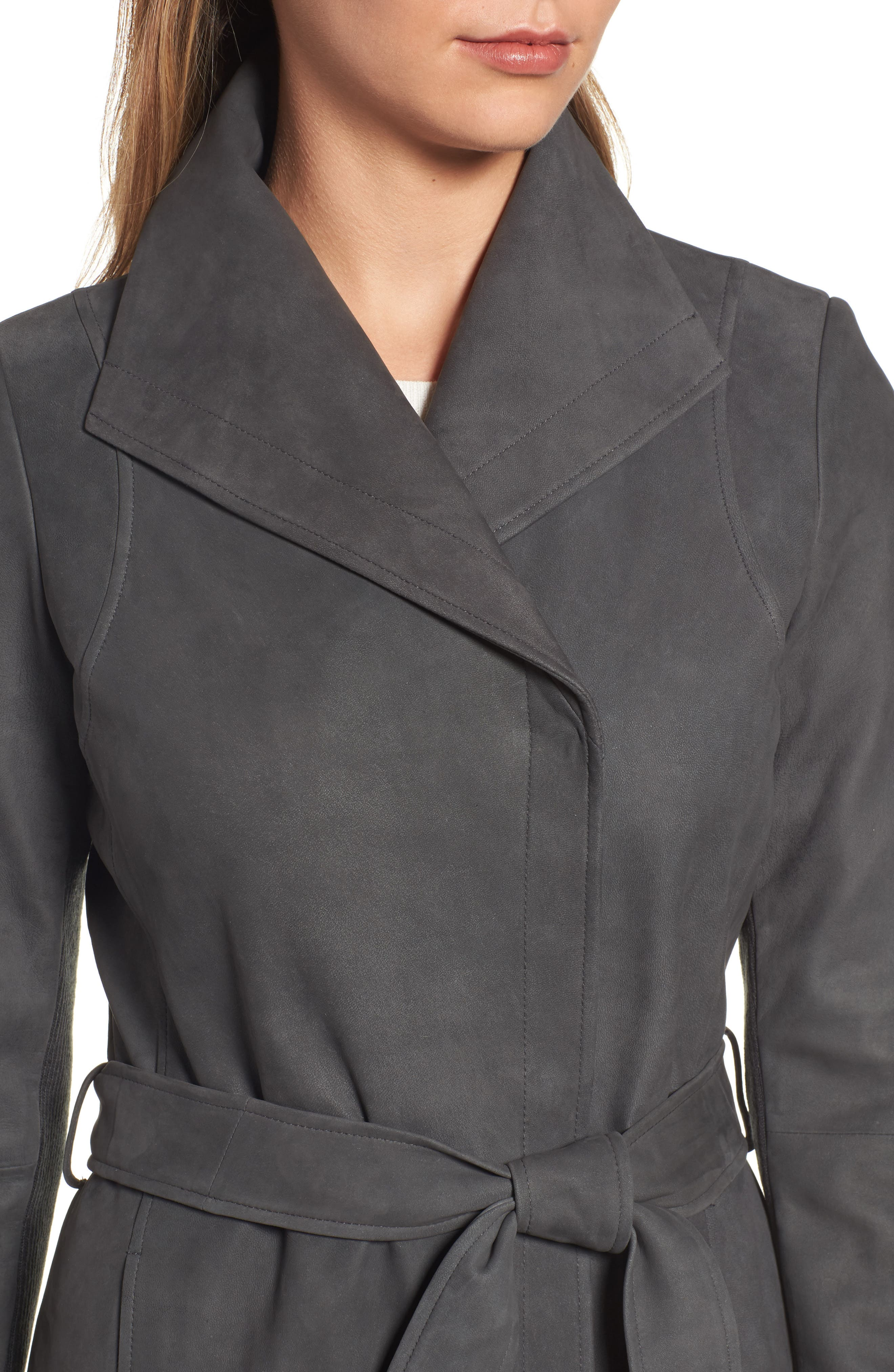 Jacqueline Belted Leather Trench Coat,                             Alternate thumbnail 4, color,                             065