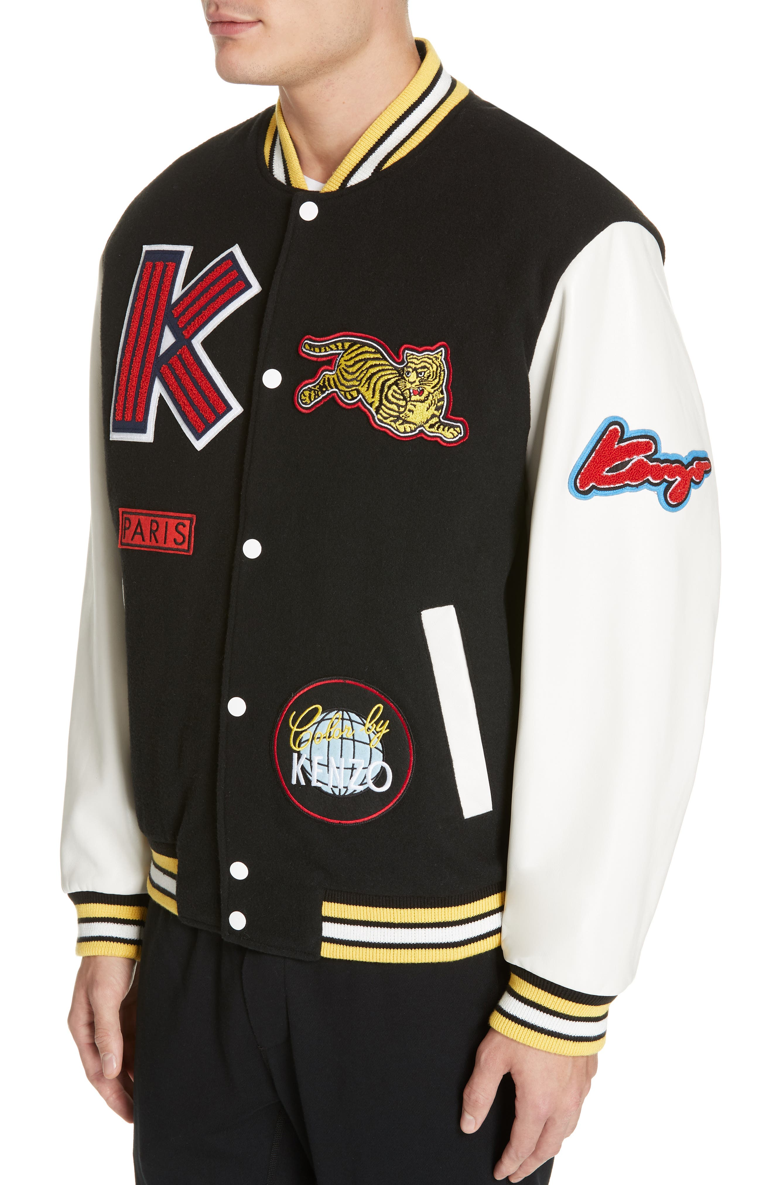 Embroidered Varsity Jacket,                             Alternate thumbnail 4, color,                             001